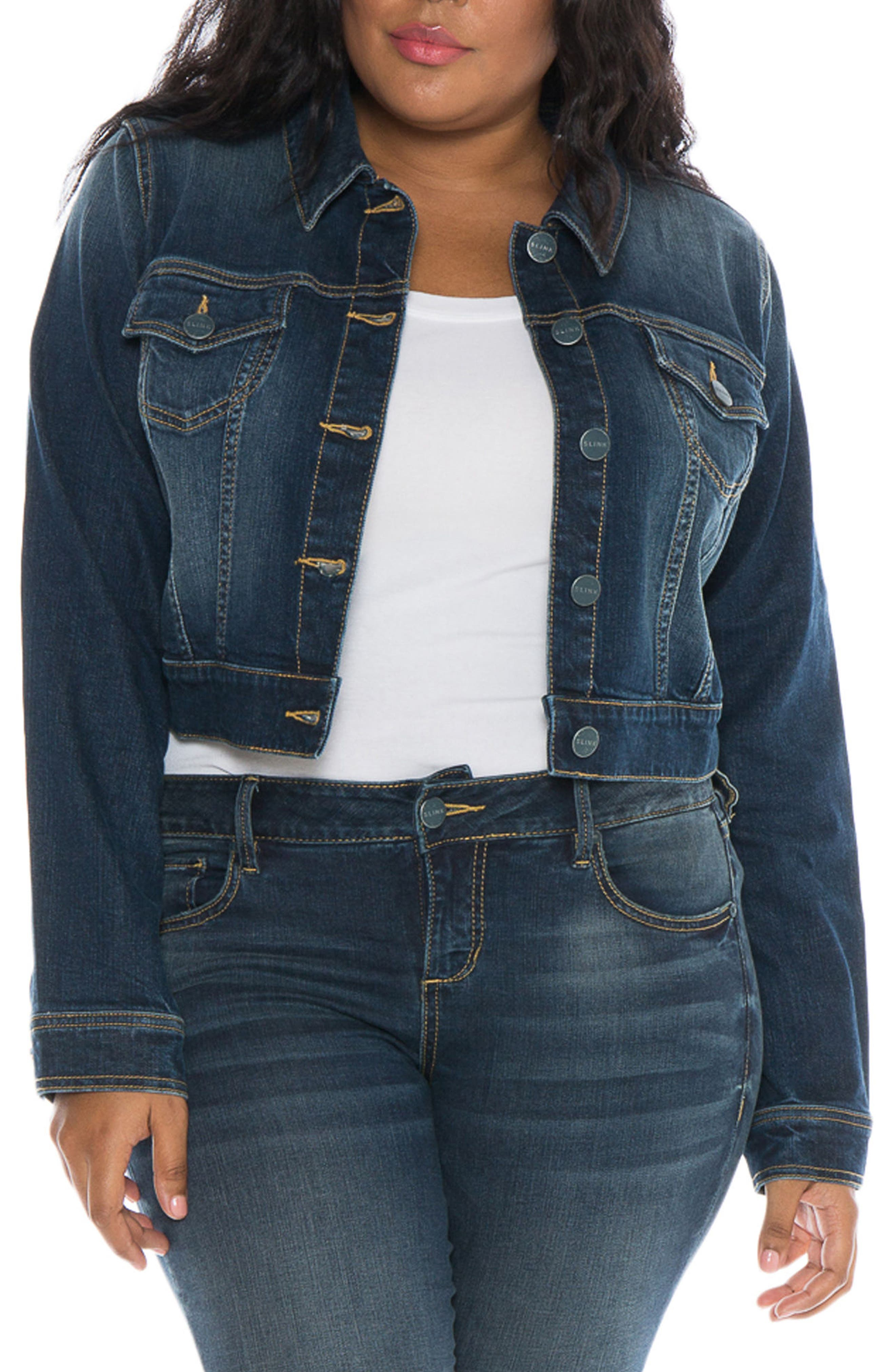 SLINK Jeans Embroidered Denim Jacket (Plus Size)