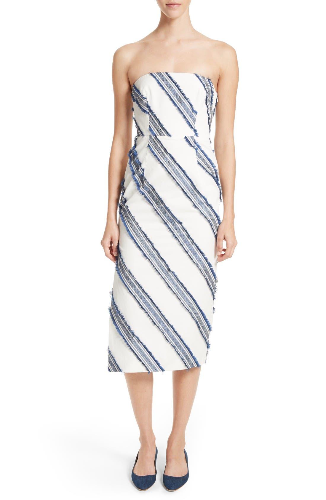 MILLY Adeline Diagonal Stripe Strapless Sheath Dress