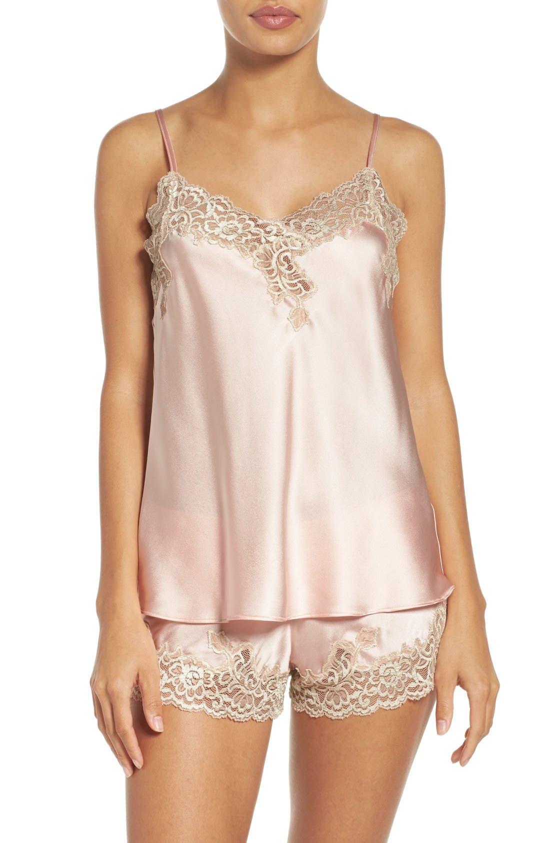 Alternate Image 1 Selected - Christine Lingerie Stretch Silk Pajamas