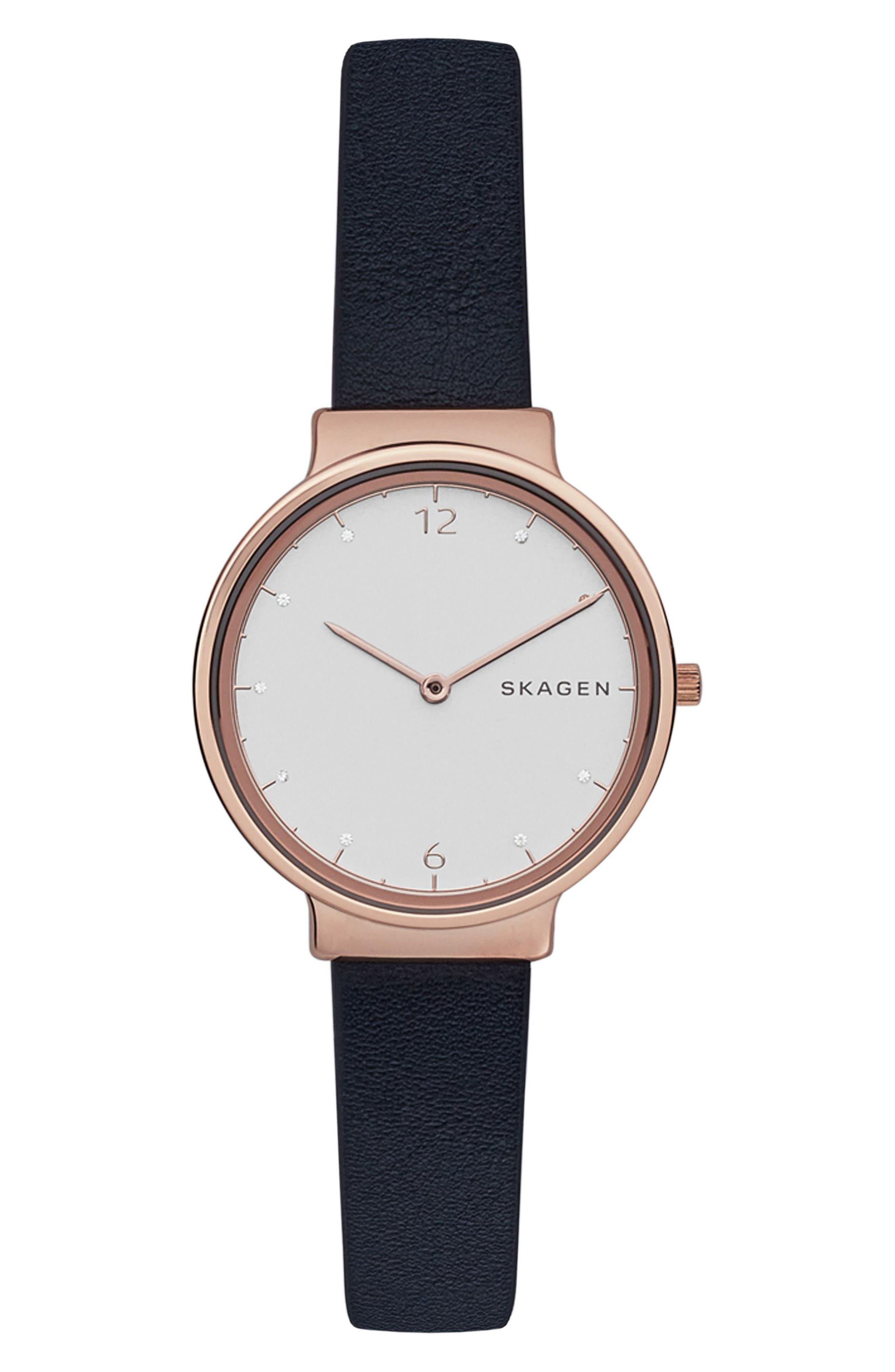 Skagen Ancher Crystal Index Leather Strap Watch, 30mm