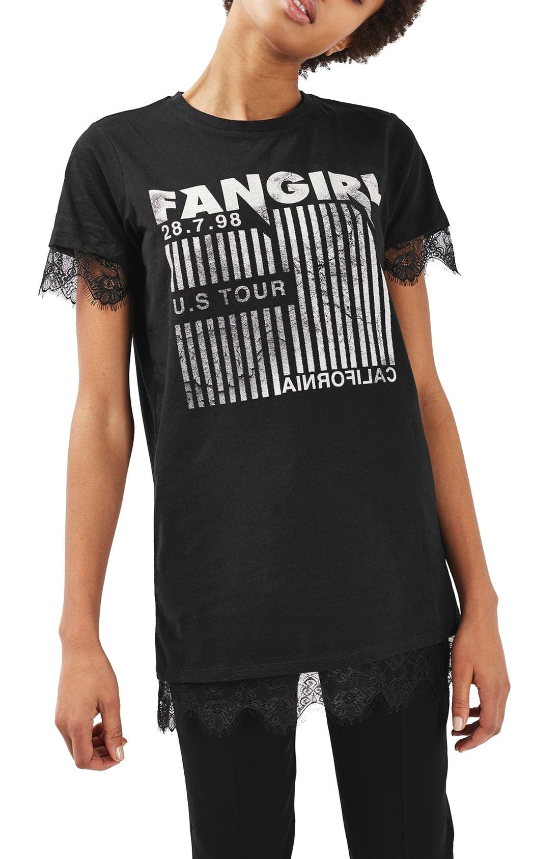 Alternate Image 1 Selected - Topshop Fangirl Lace Trim Tee