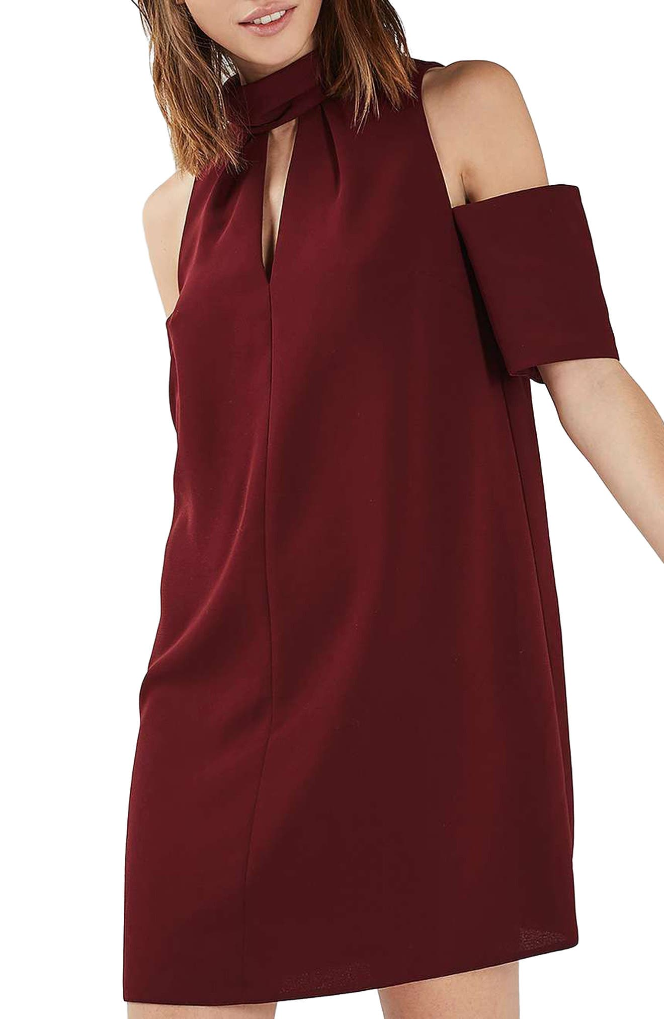 Main Image - Topshop Cold Shoulder Keyhole Dress