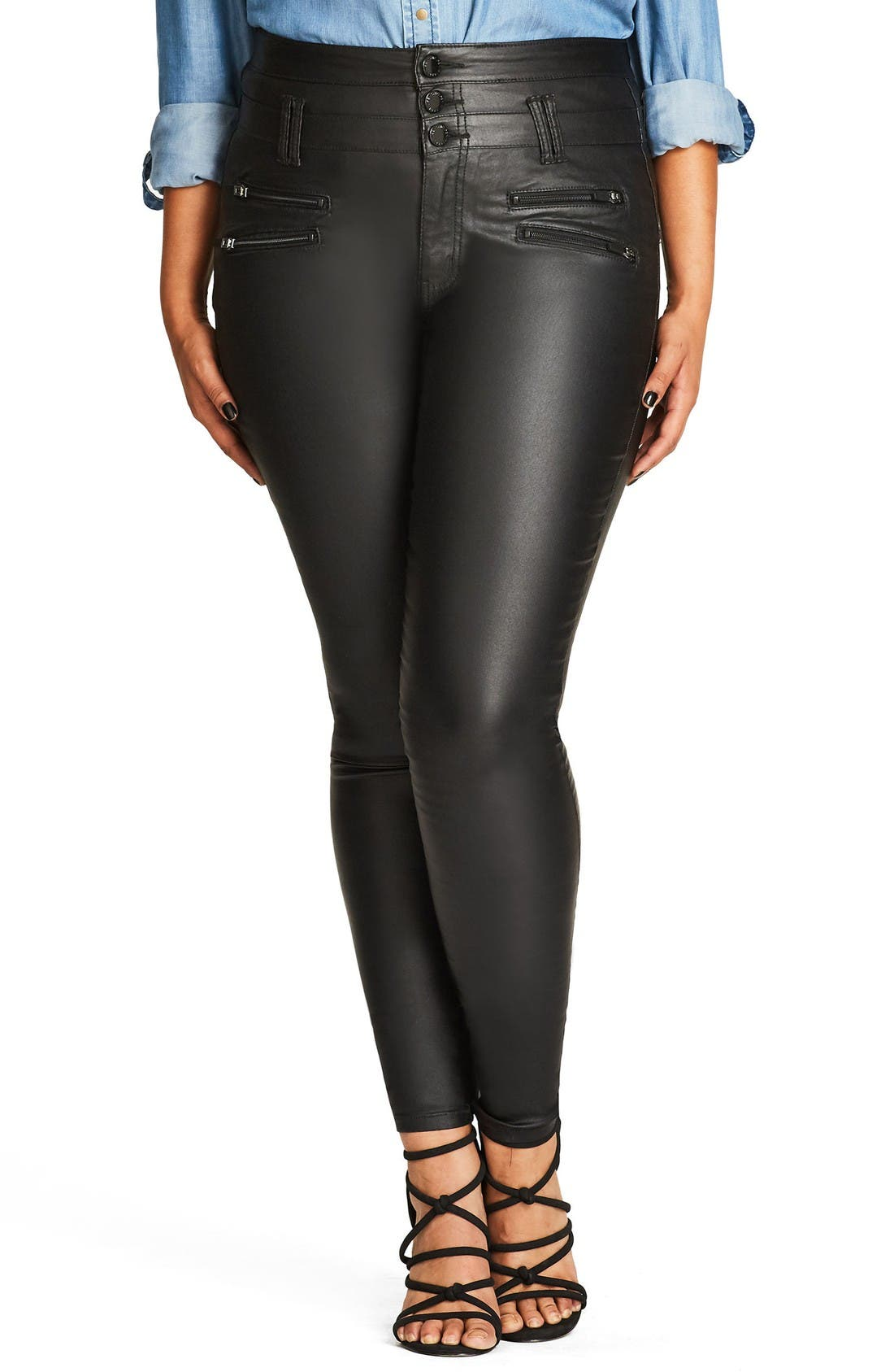 City Chic Sexy Pins Coated Skinny Jeans (Plus Size)