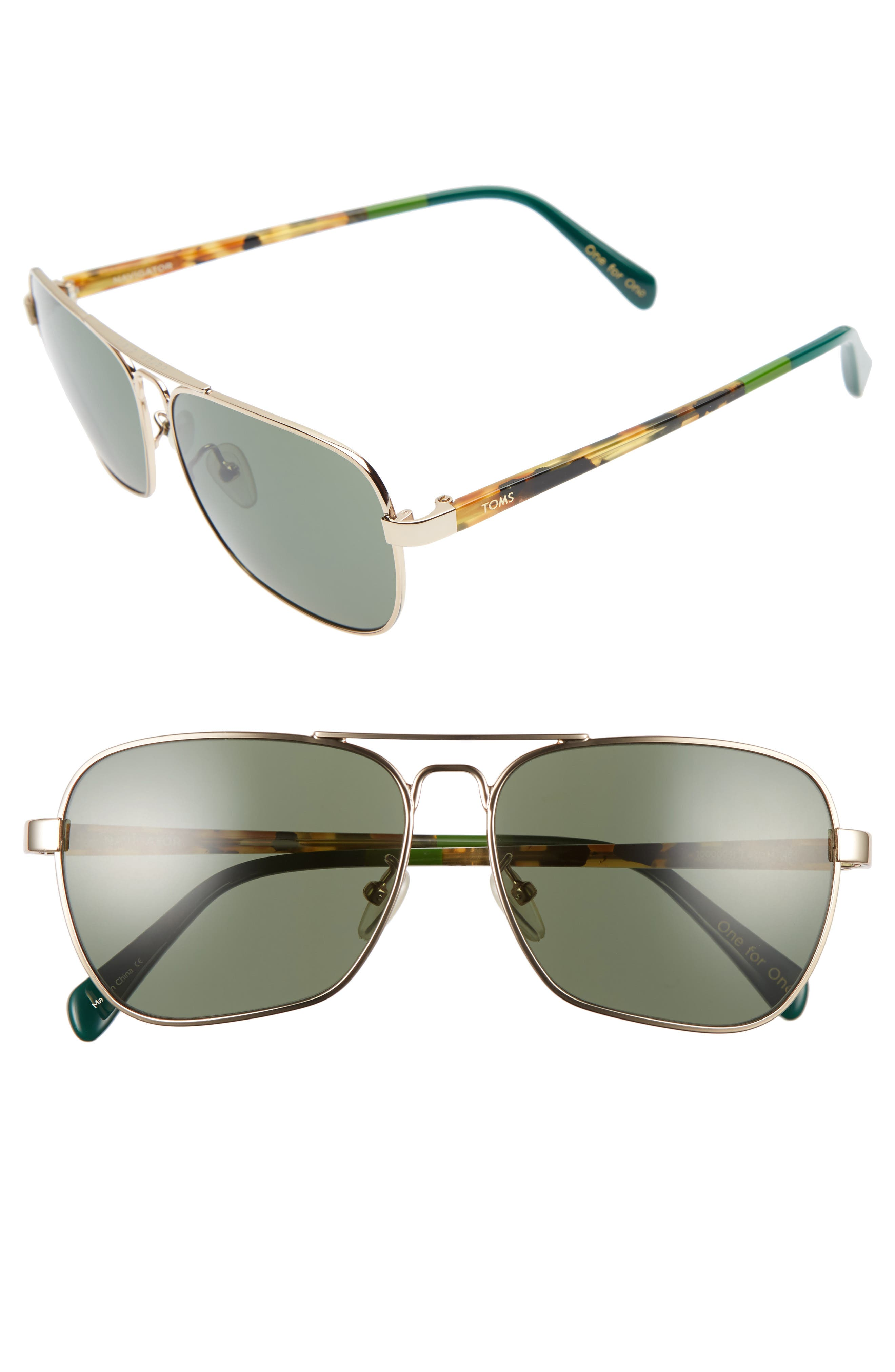 TOMS Navigator 201 58mm Sunglasses