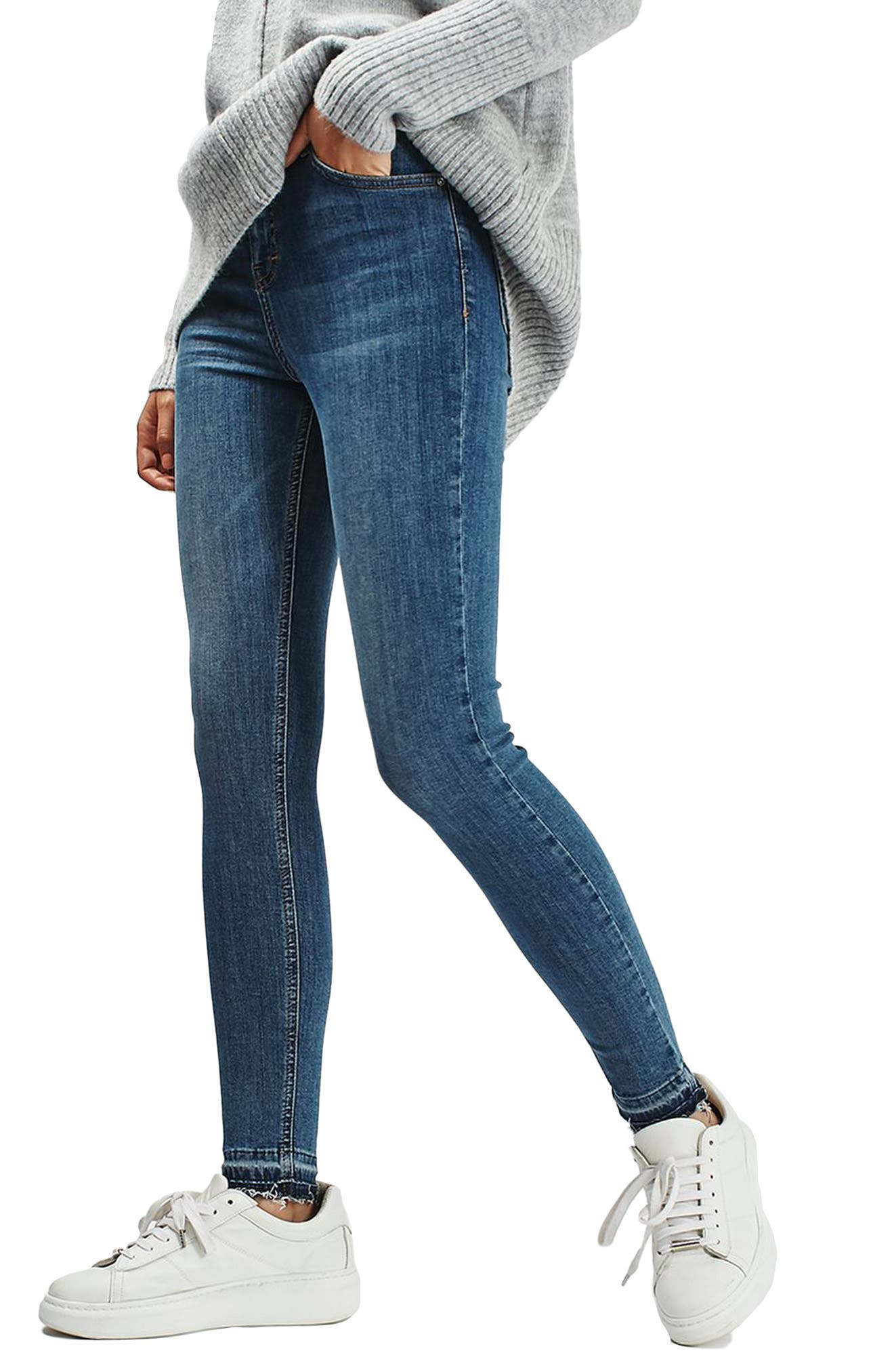 Alternate Image 1 Selected - Topshop Jamie High Rise Let Down Hem Jeans (Petite)