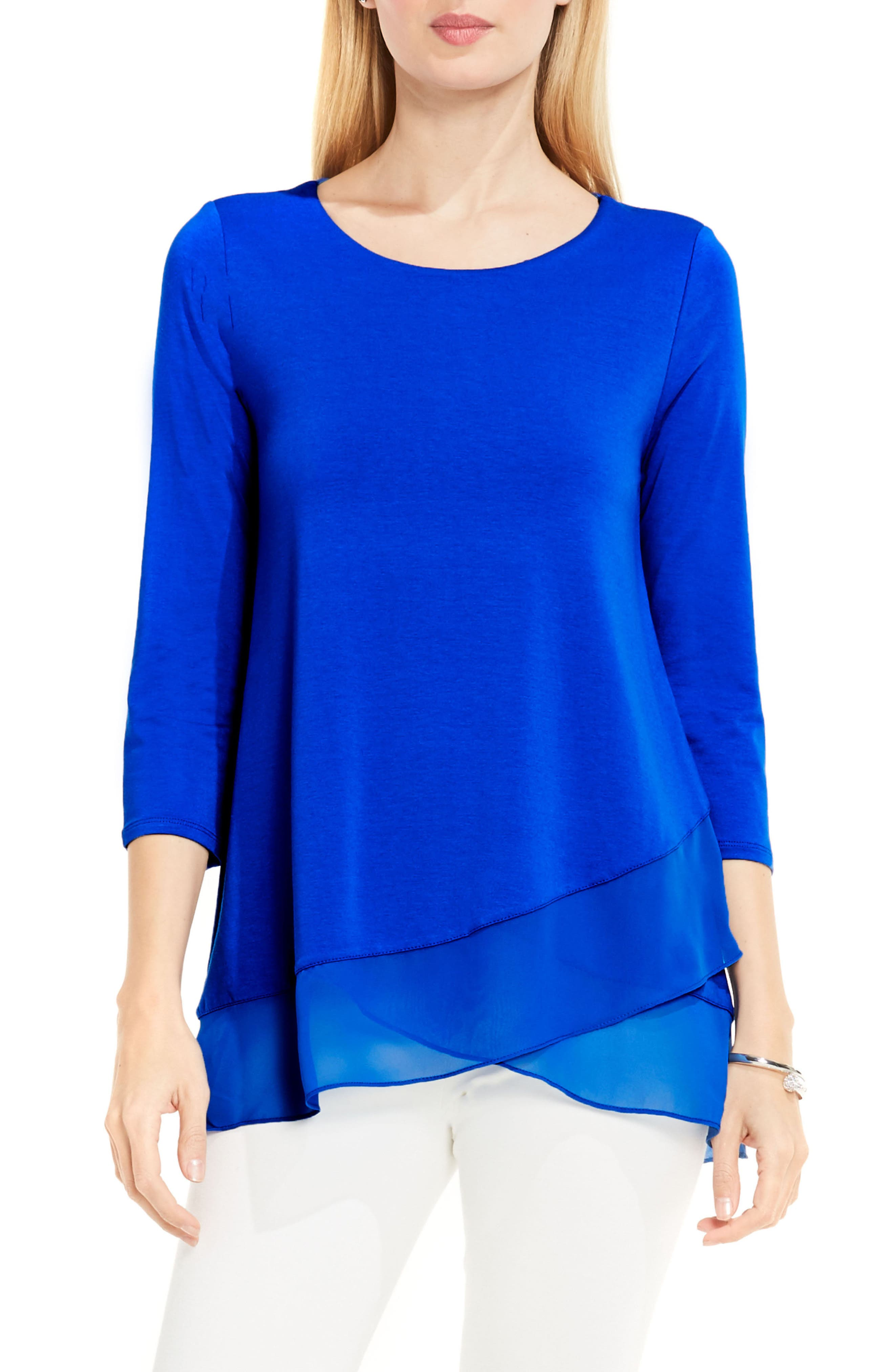 Alternate Image 1 Selected - Vince Camuto Asymmetrical Chiffon Hem Top