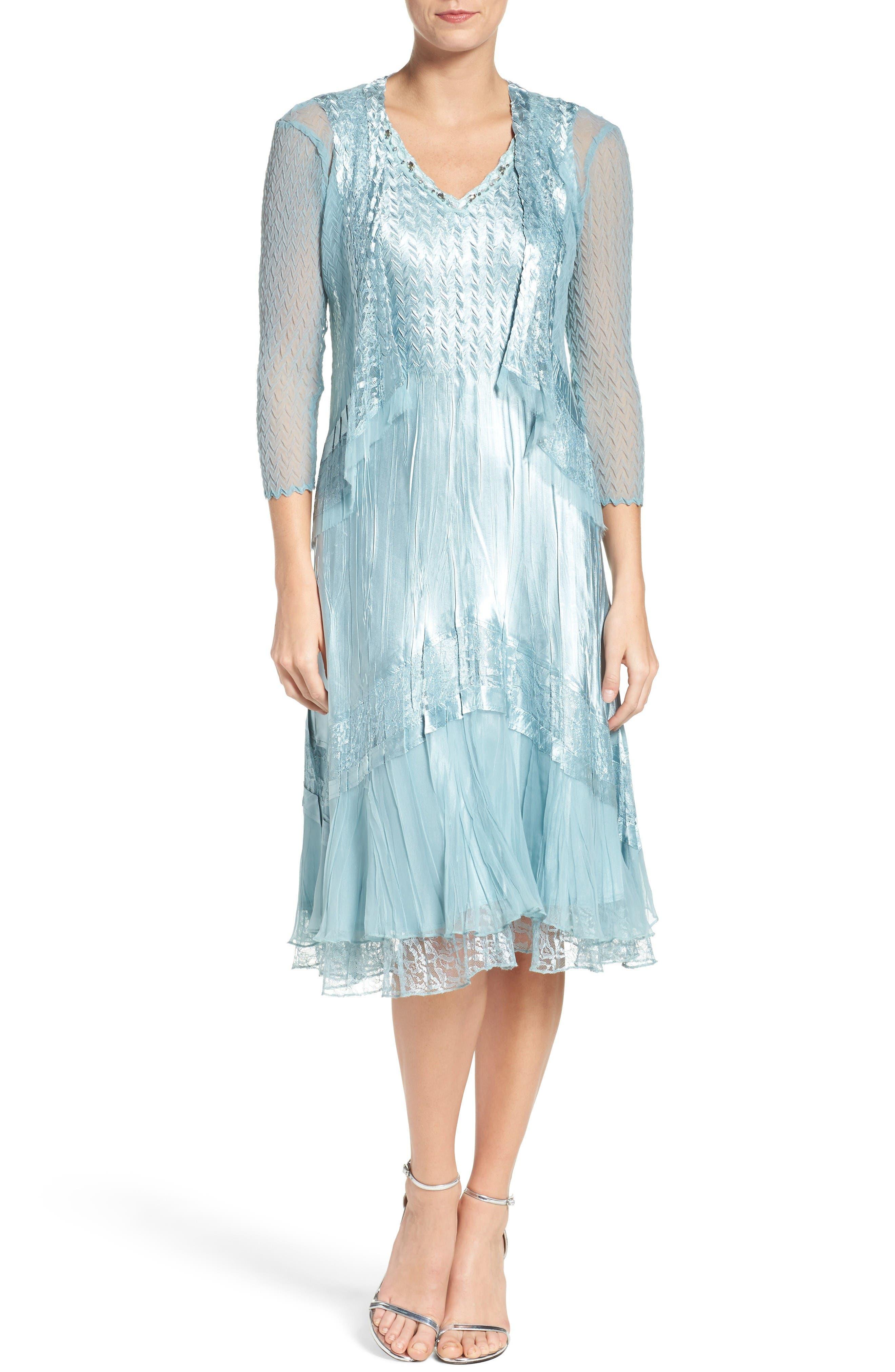 Komarov Textured Satin Dress & Jacket (Regular & Petite)