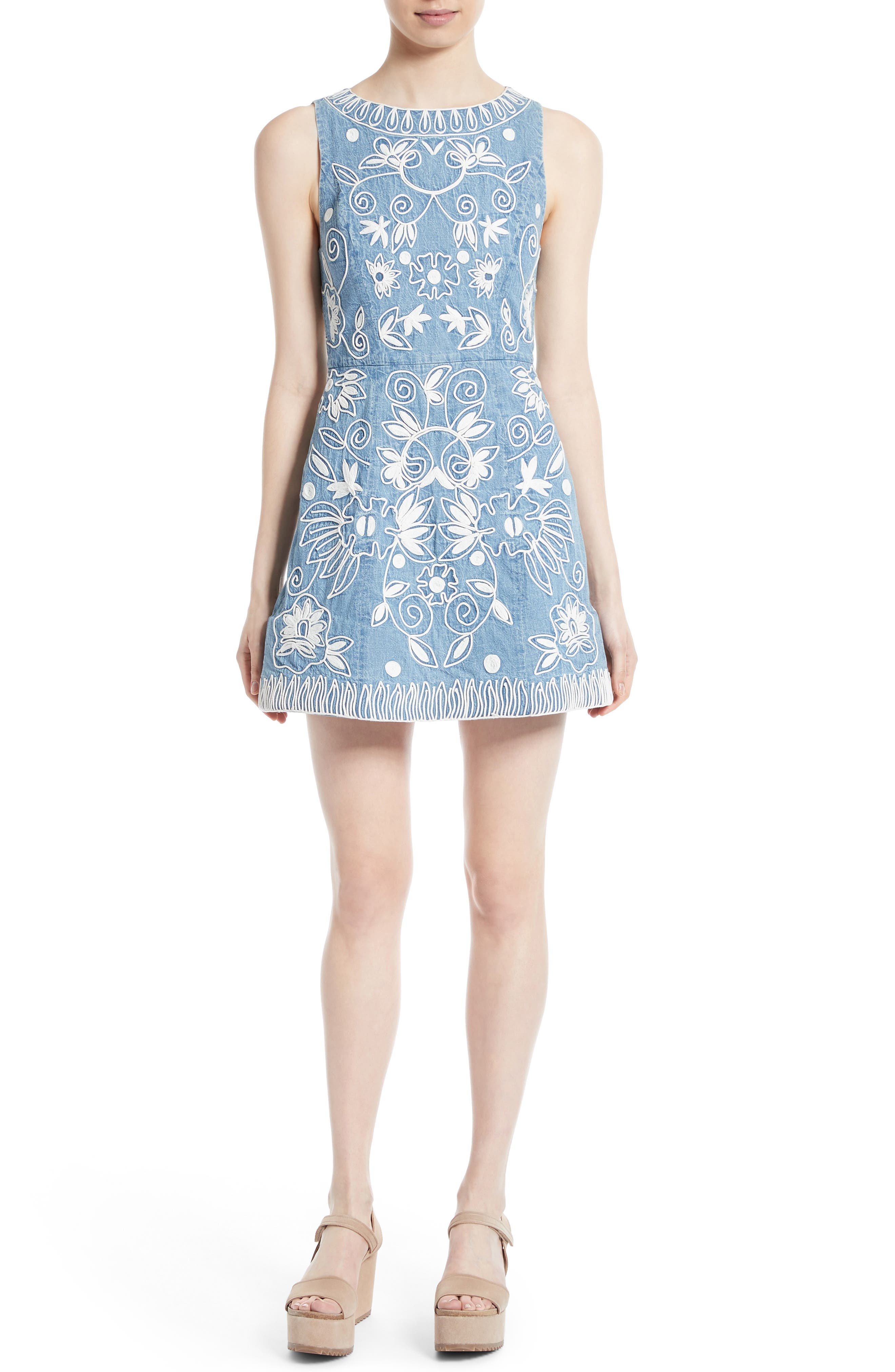 Alternate Image 1 Selected - Alice + Olivia Lindsey Embroidered A-Line Dress
