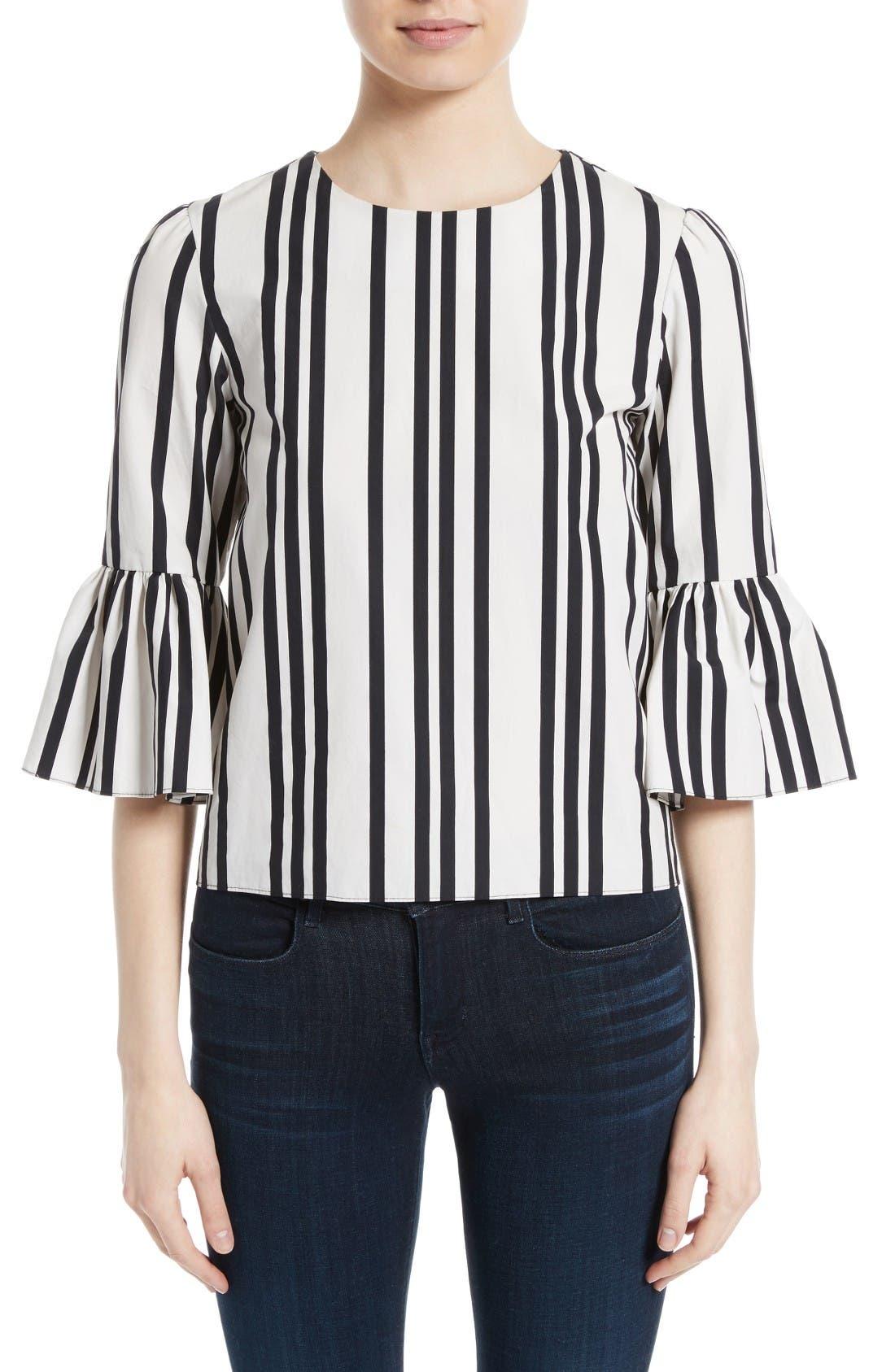 ALICE + OLIVIA Bernice Stripe Cotton Ruffle Sleeve