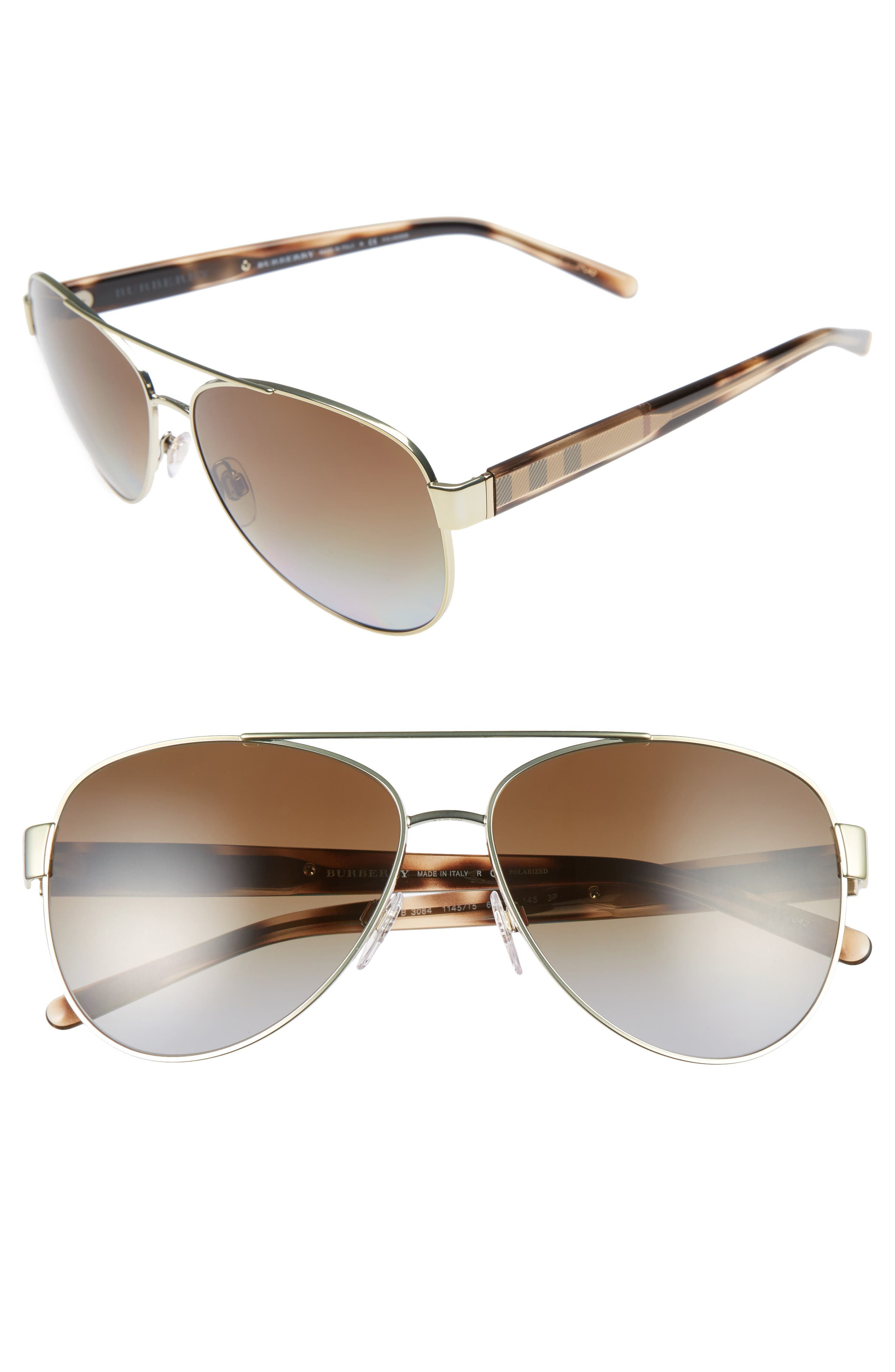 Burberry 60mm Polarized Aviator Sunglasses