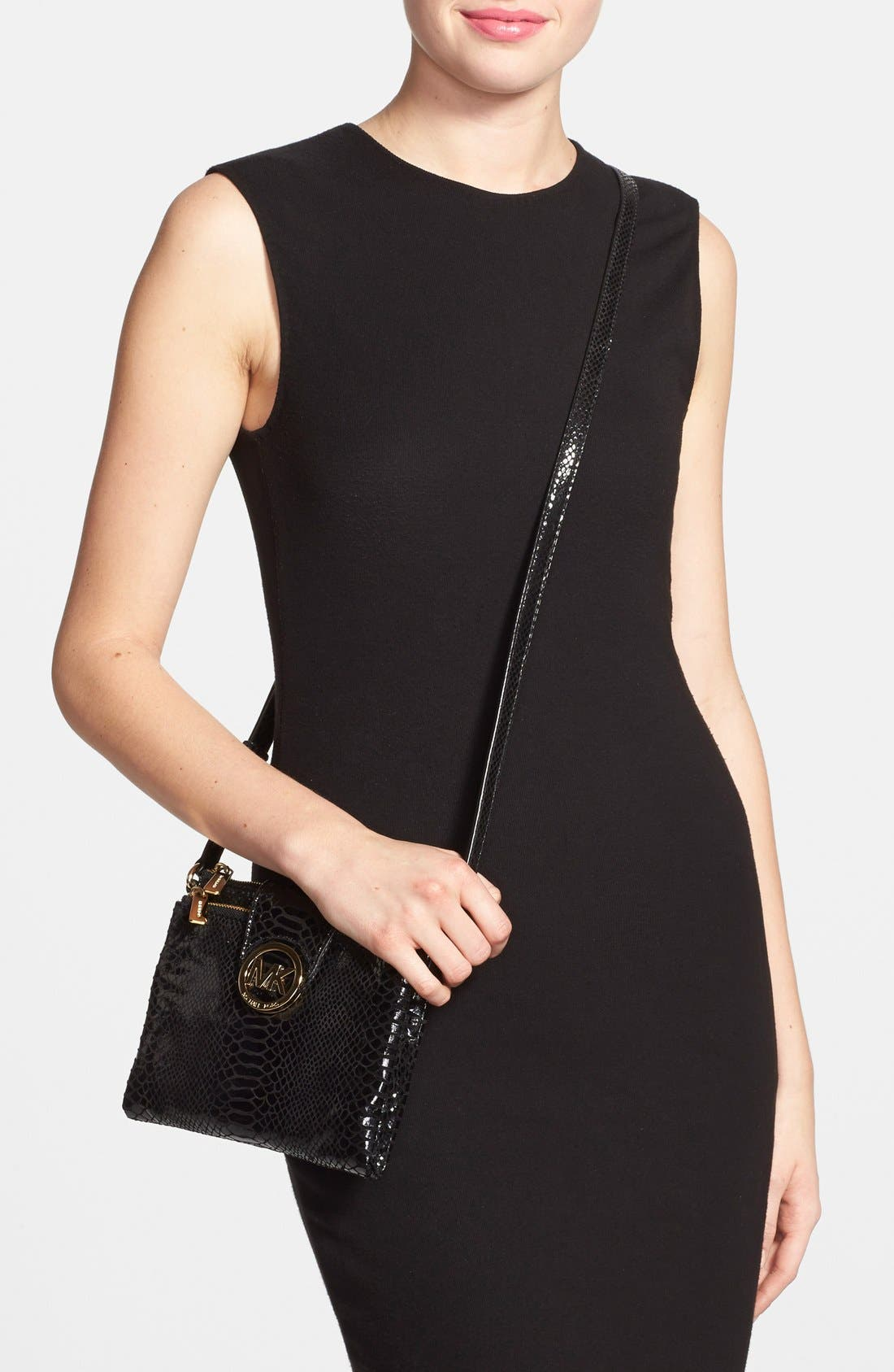 Alternate Image 2  - MICHAEL Michael Kors 'Large Fulton' Embossed Patent Crossbody Bag