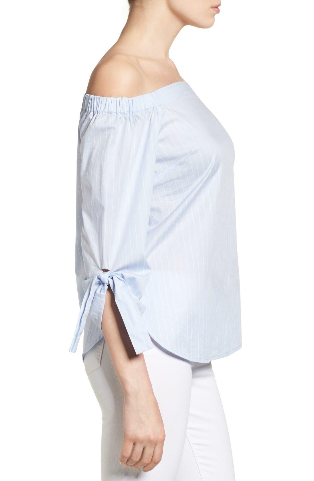 Alternate Image 4  - Halogen® Tie Sleeve Off the Shoulder Top (Regular & Petite)