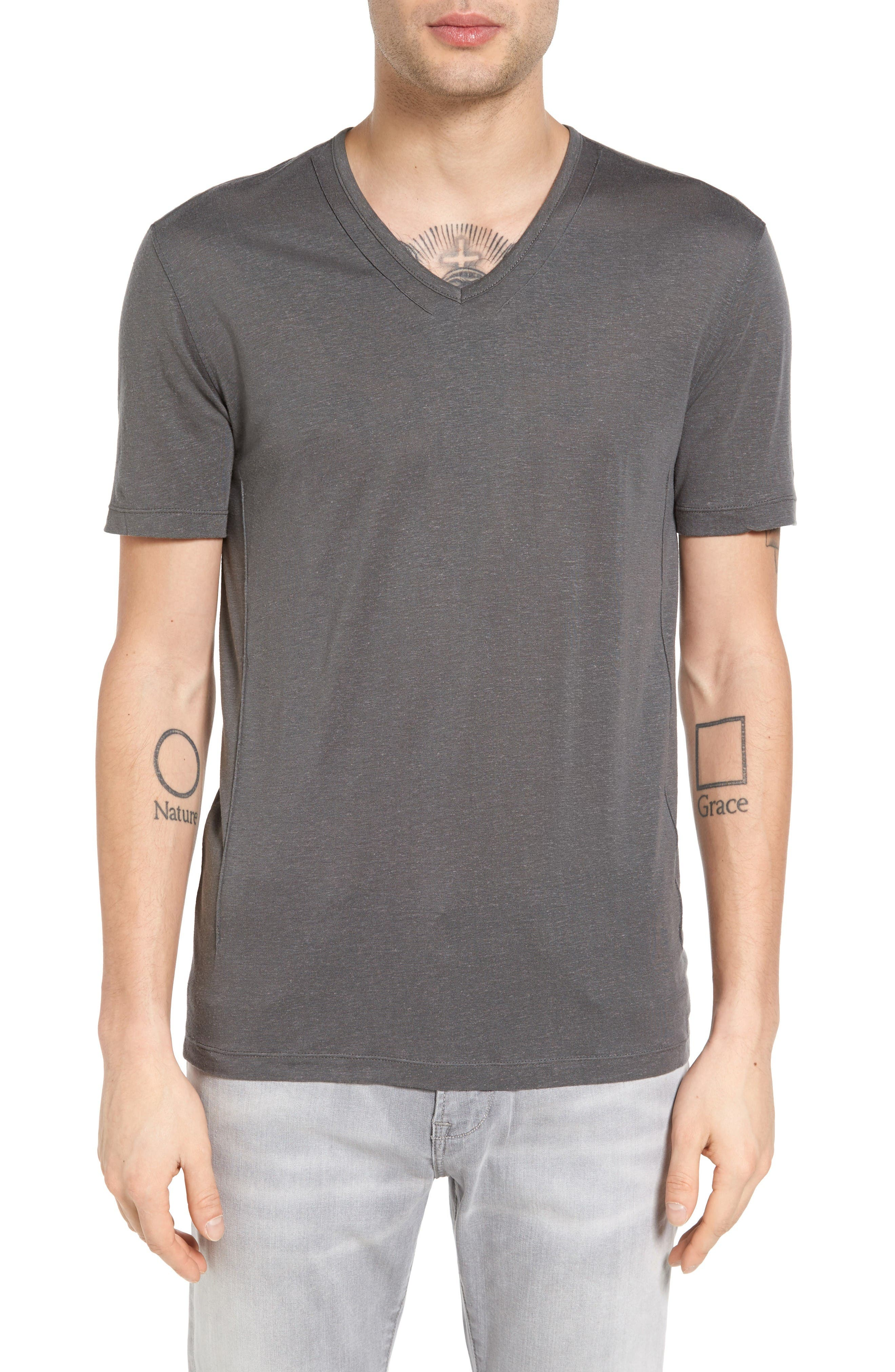 John Varvatos Collection Pintuck Detail V-Neck T-Shirt