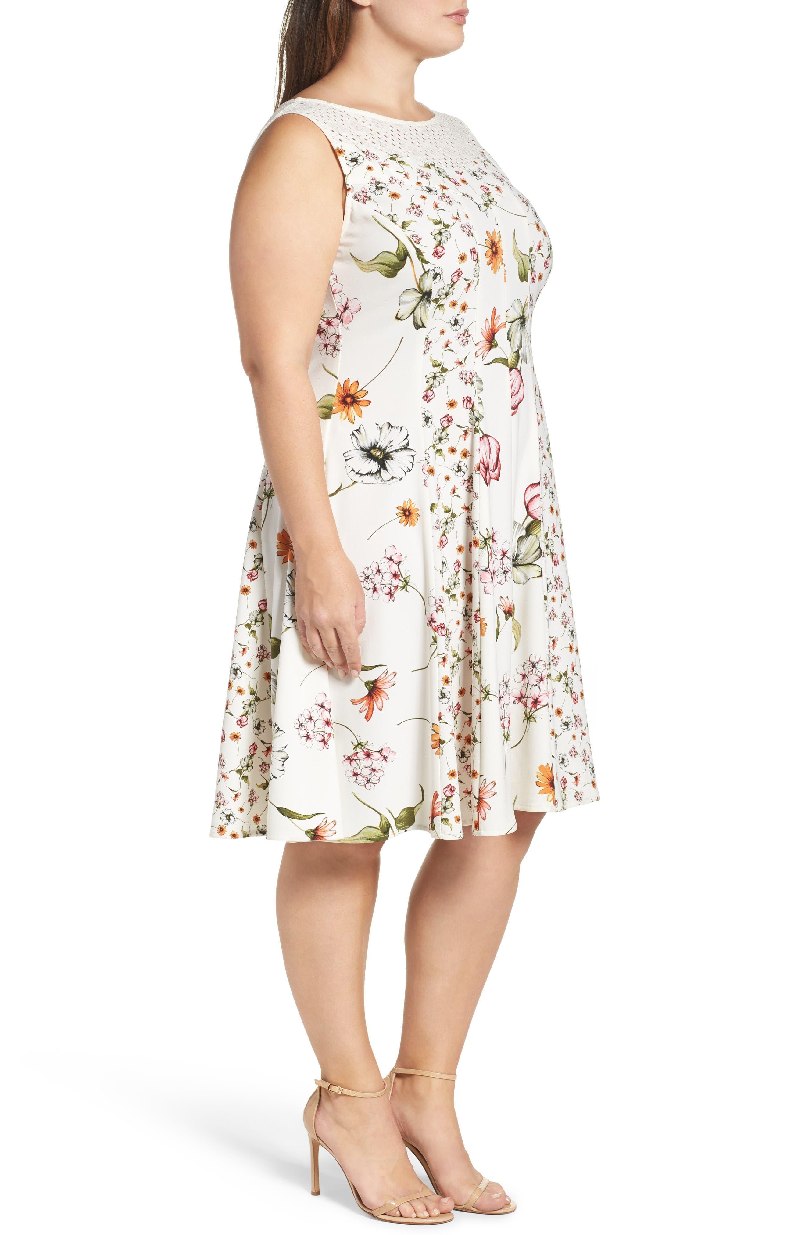 Alternate Image 3  - Gabby Skye Floral Print Fit & Flare Dress (Plus Size)