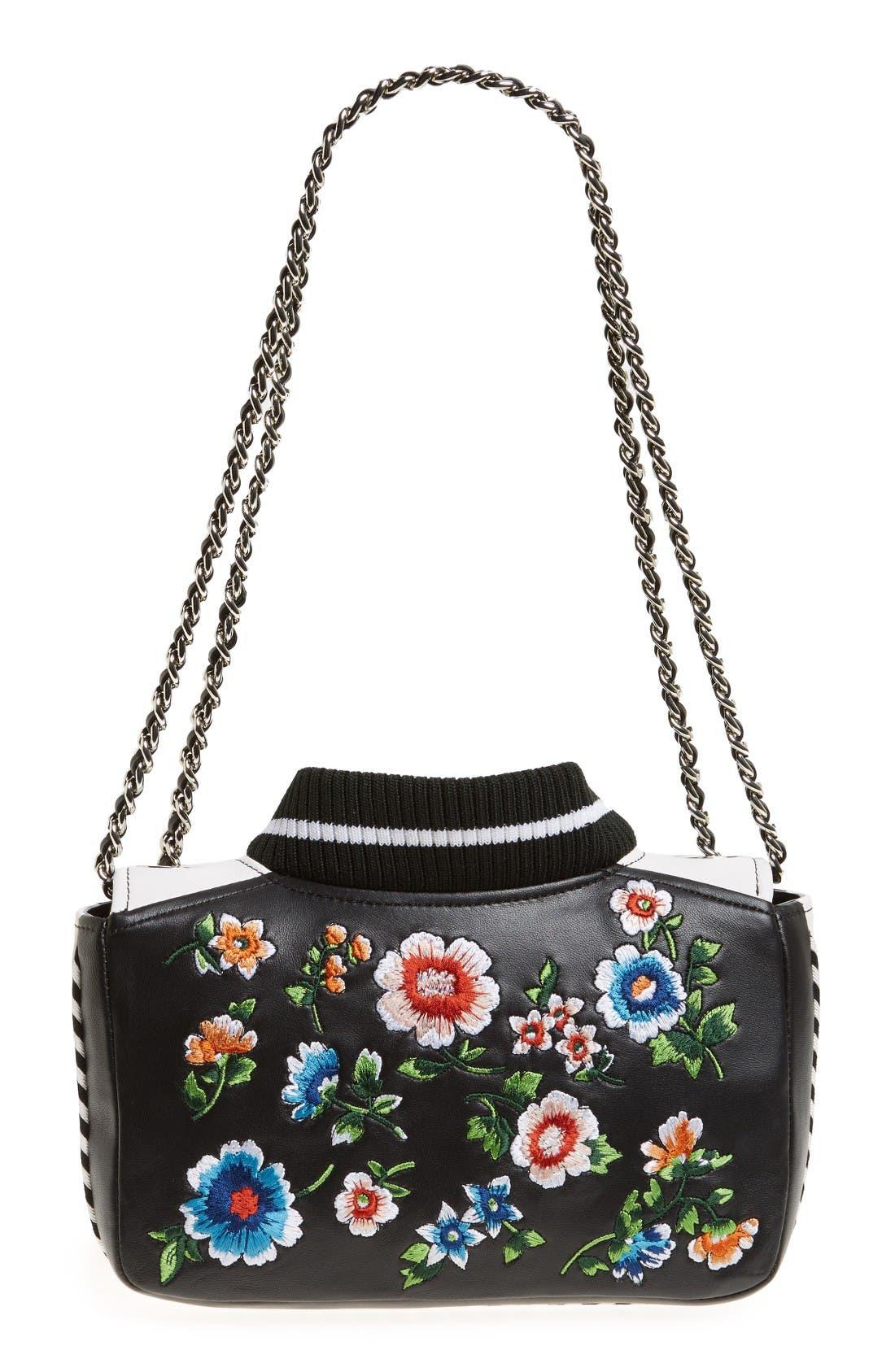 Alternate Image 3  - Moschino Embroidered Floral Bomber Jacket Leather Shoulder Bag