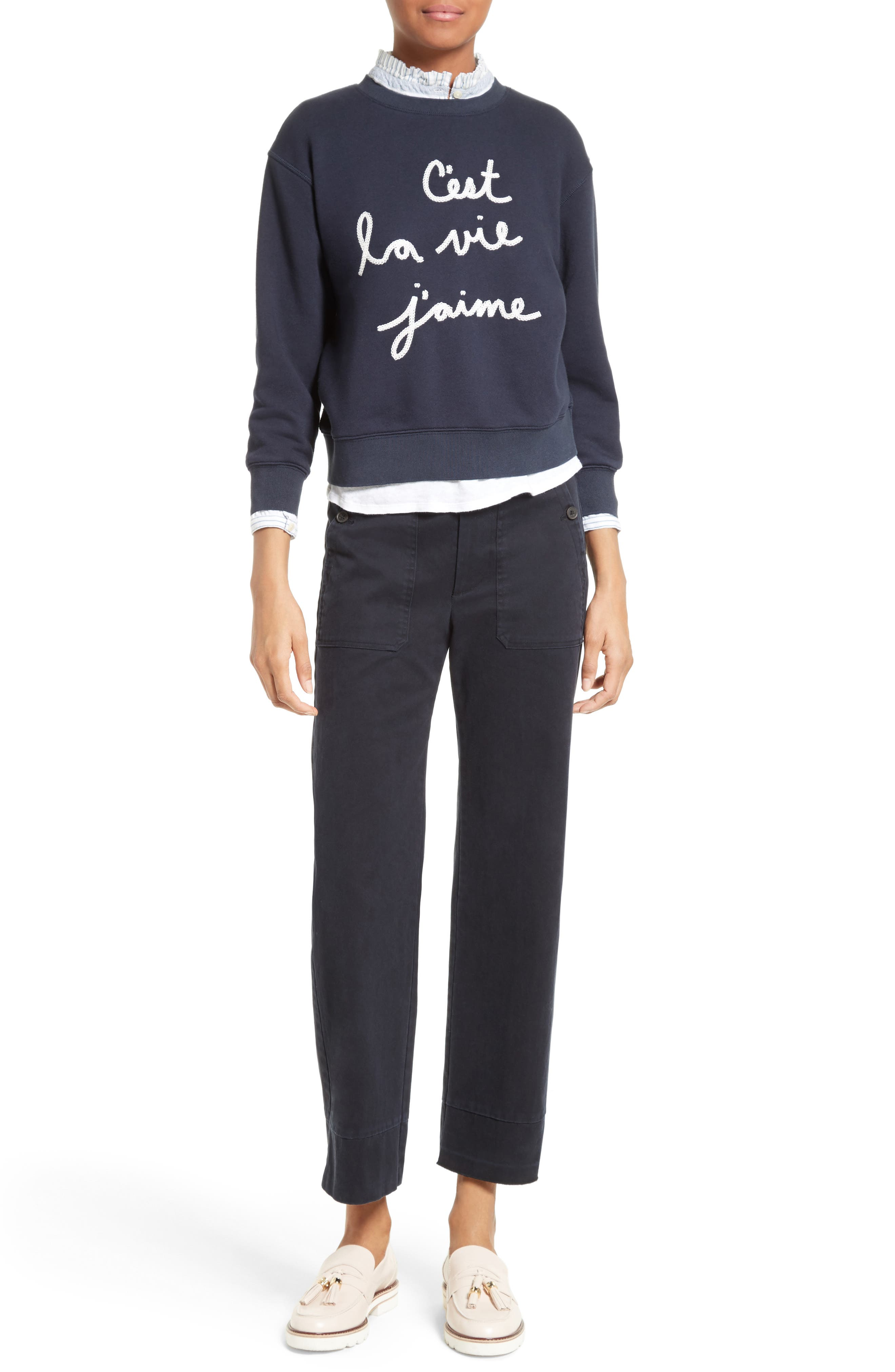 Alternate Image 2  - La Vie Rebecca Taylor Logo Embroidered French Terry Pullover