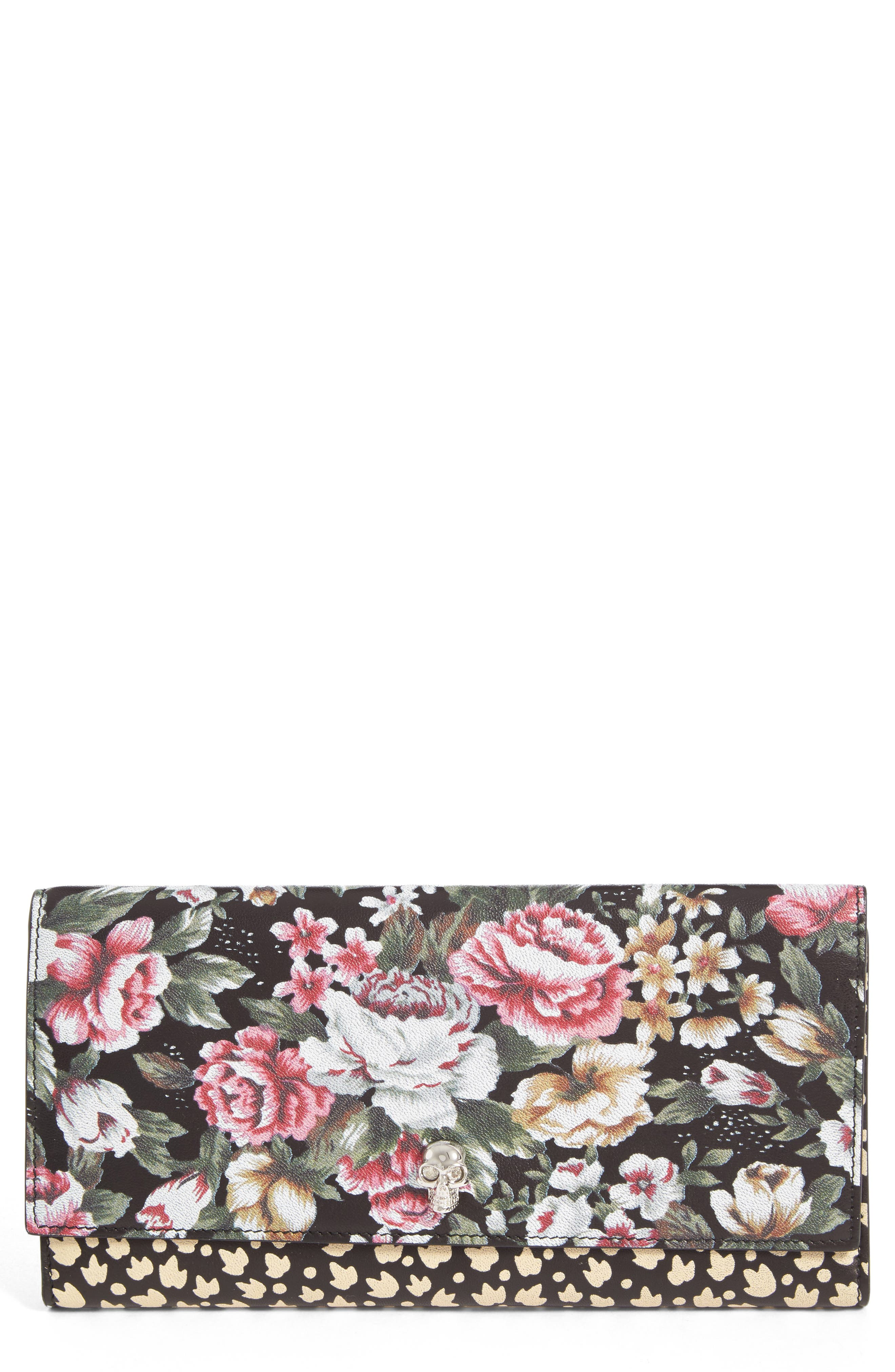 ALEXANDER MCQUEEN Floral Leather Wallet