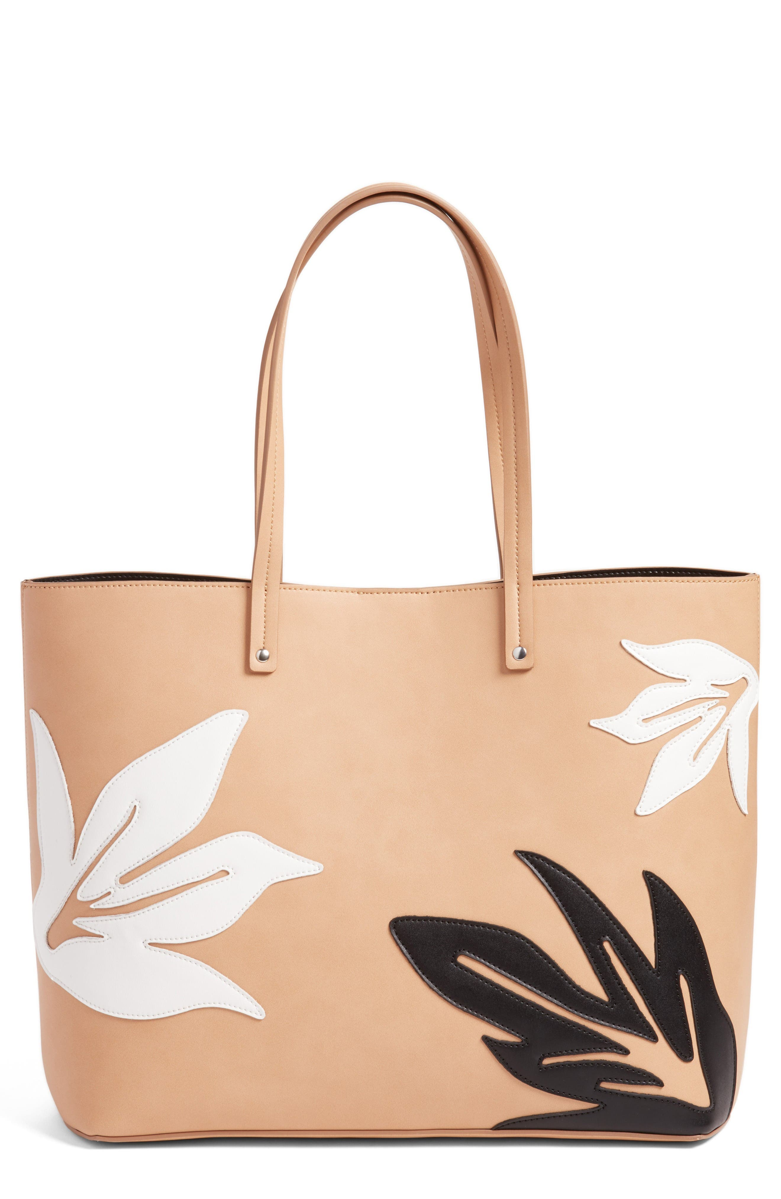Chelsea28 Tropical Appliqué Faux Leather Tote