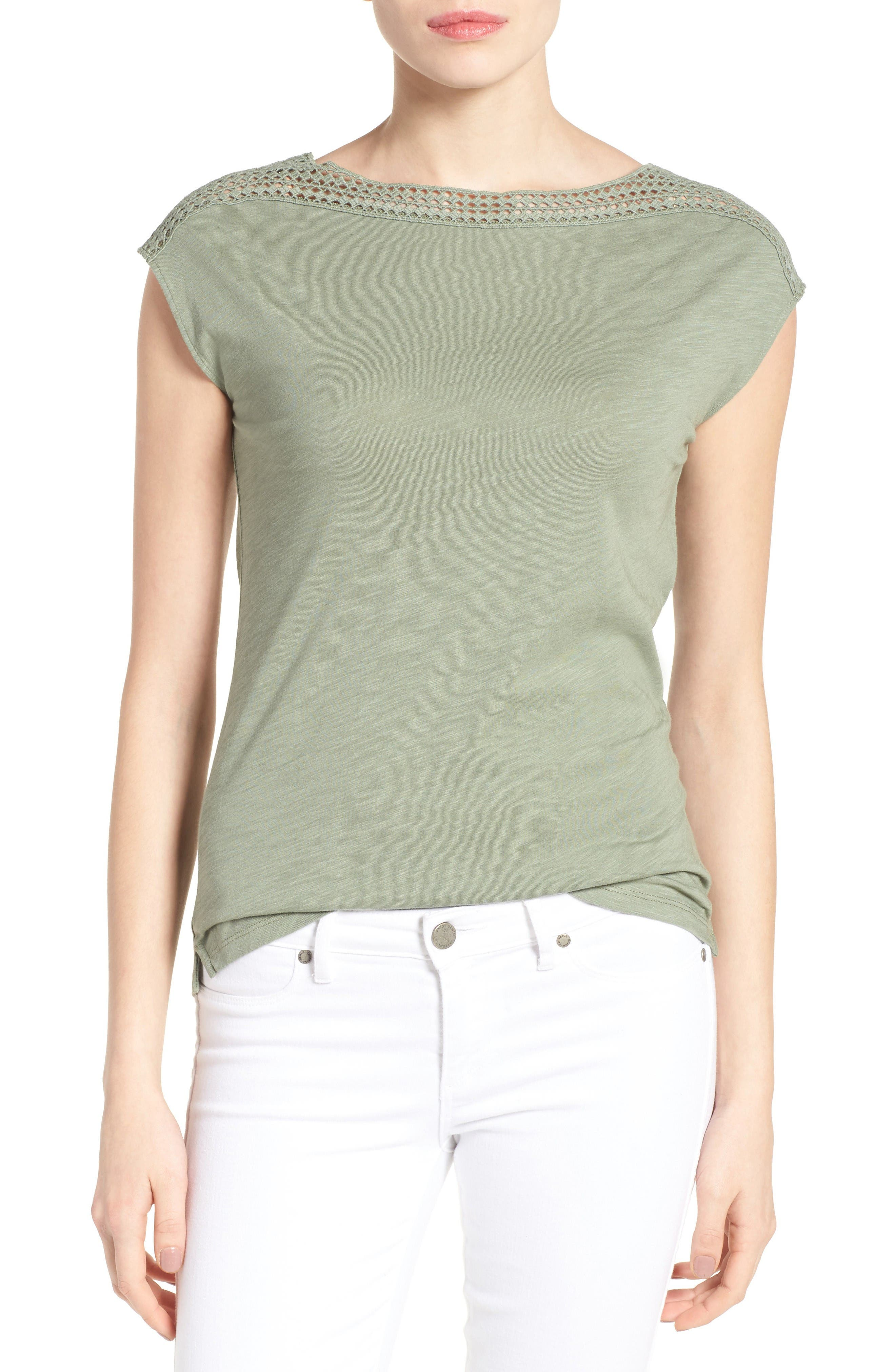 Alternate Image 1 Selected - Caslon® Lace Shoulder Tee (Regular & Petite)