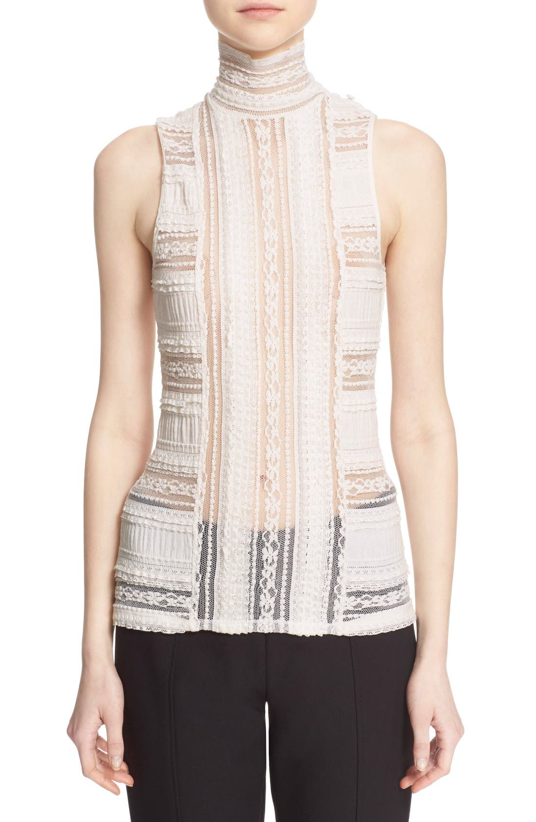 CINQ À SEPT 'Antonia' Sleeveless Lace Turtleneck