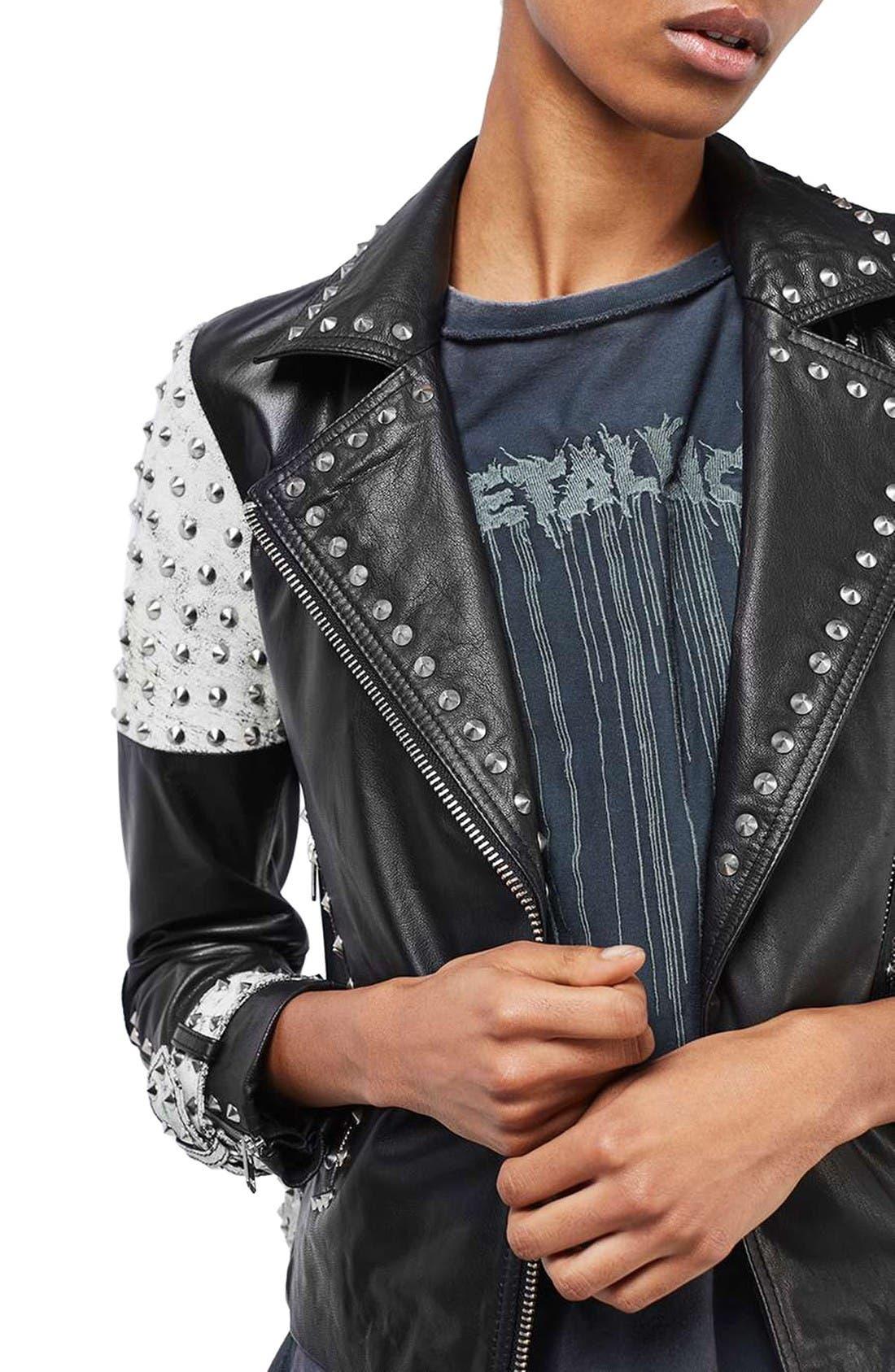 Main Image - Topshop Maddox Studded Leather Jacket