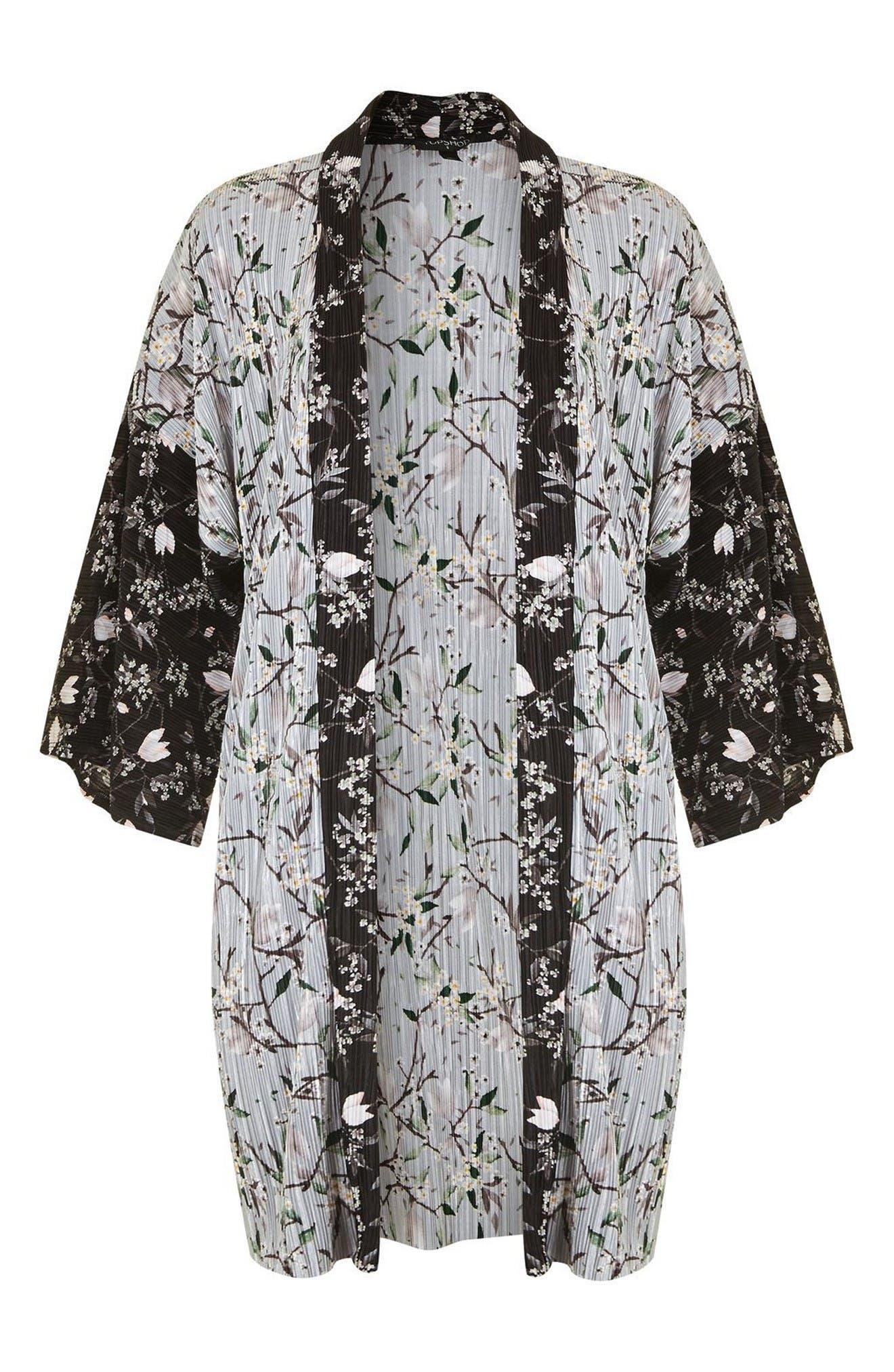 Alternate Image 4  - Topshop Print Plissé Kimono