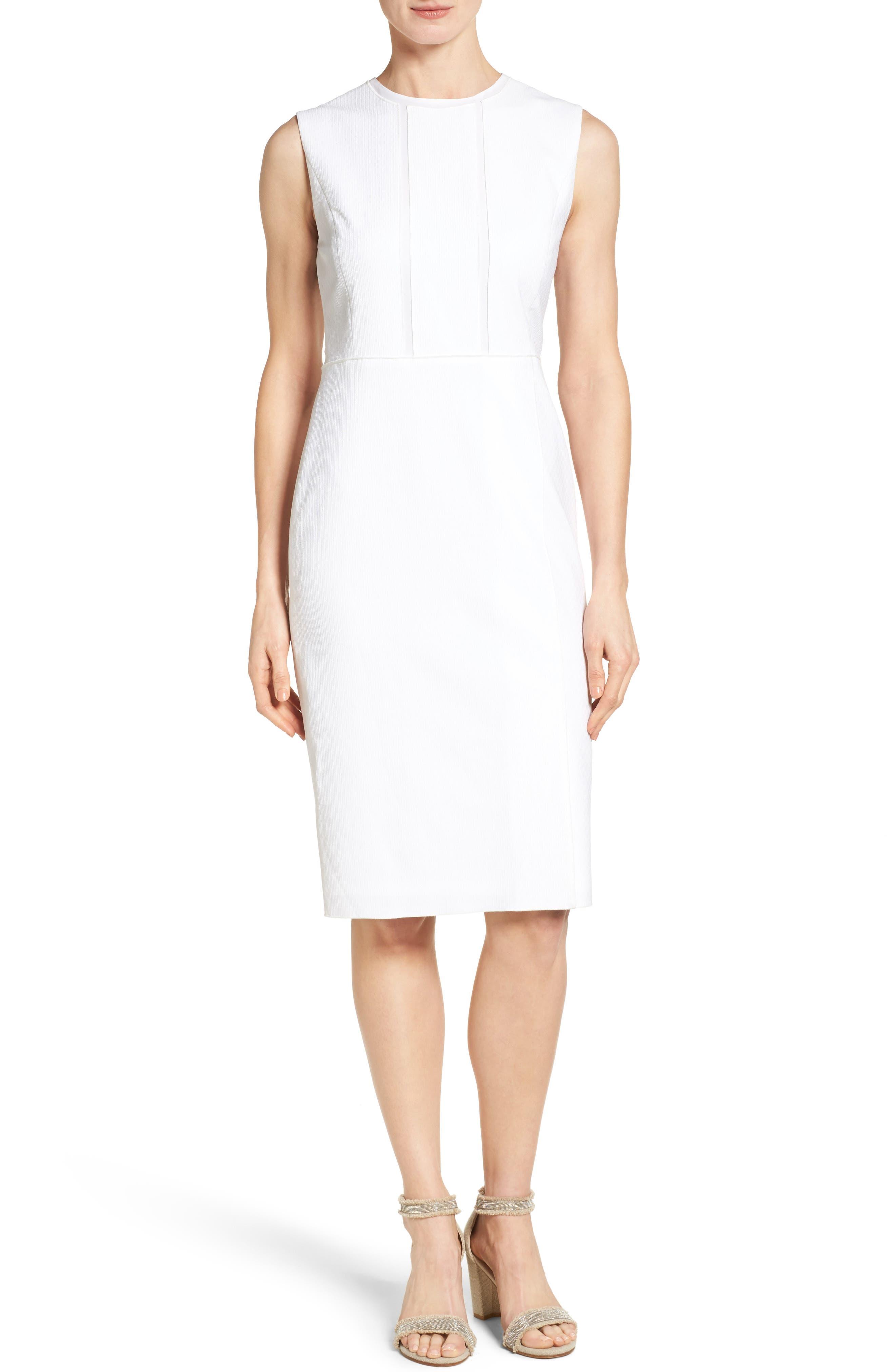 Classiques Entier® Chiffon Trim Texture Woven Sheath Dress