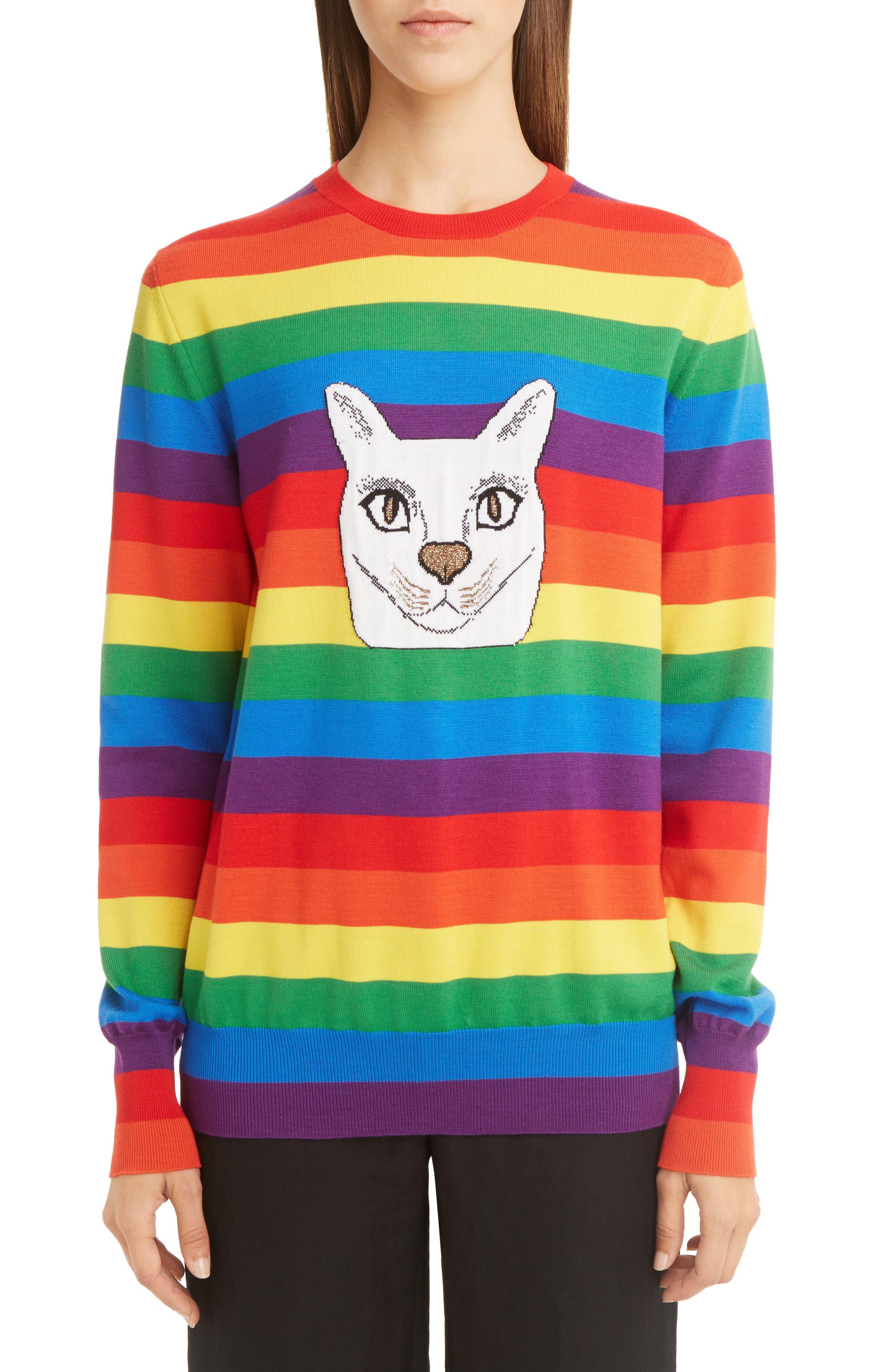 Main Image - Loewe Cat Rainbow Stripe Wool Blend Sweater