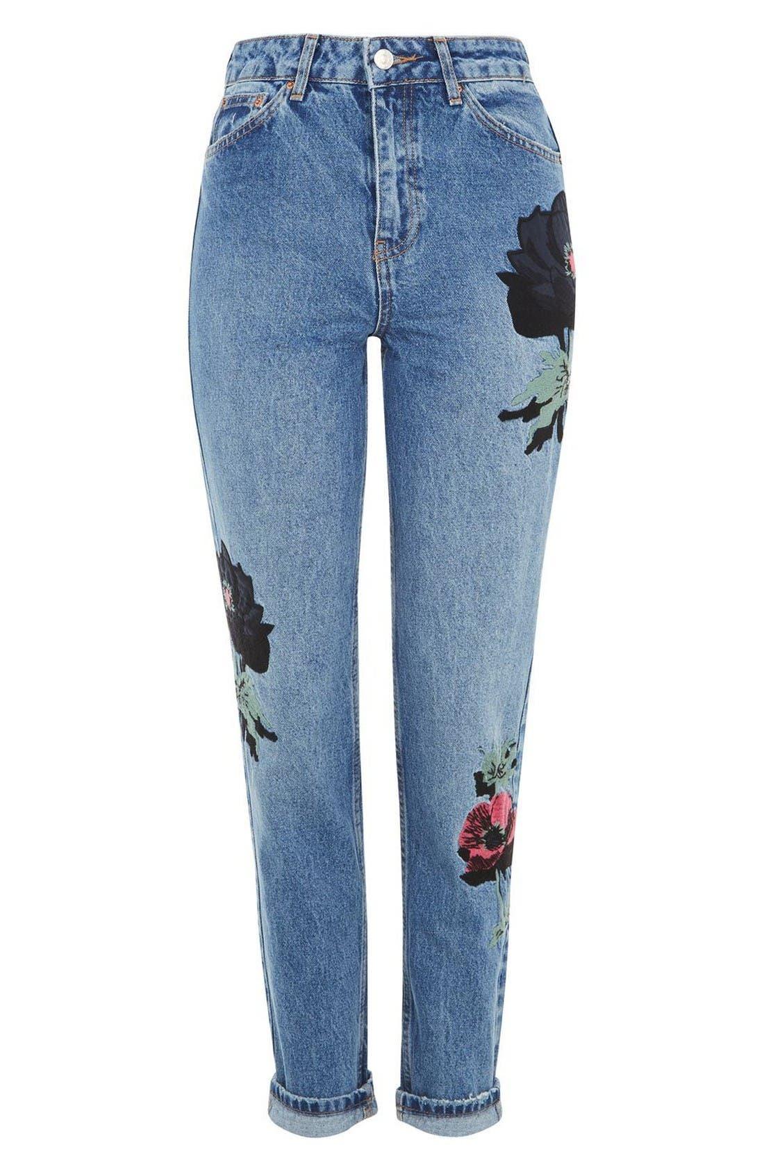 Alternate Image 4  - Topshop Floral Embroidered Mom Jeans