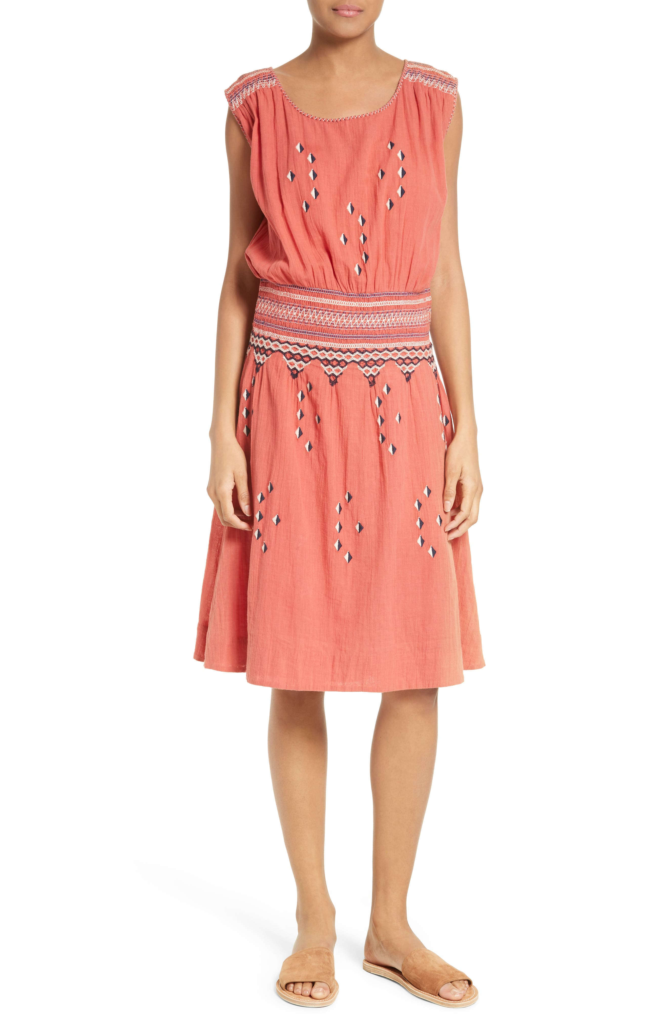 THE GREAT. The Deco Embroidered Dress