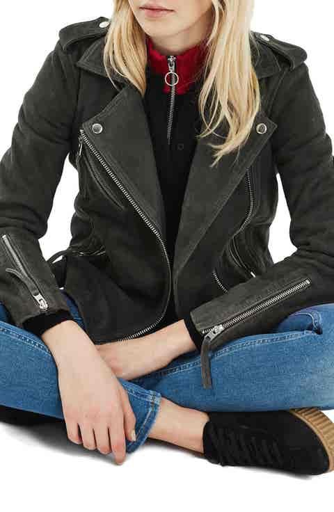Topshop Suede Moto Jacket