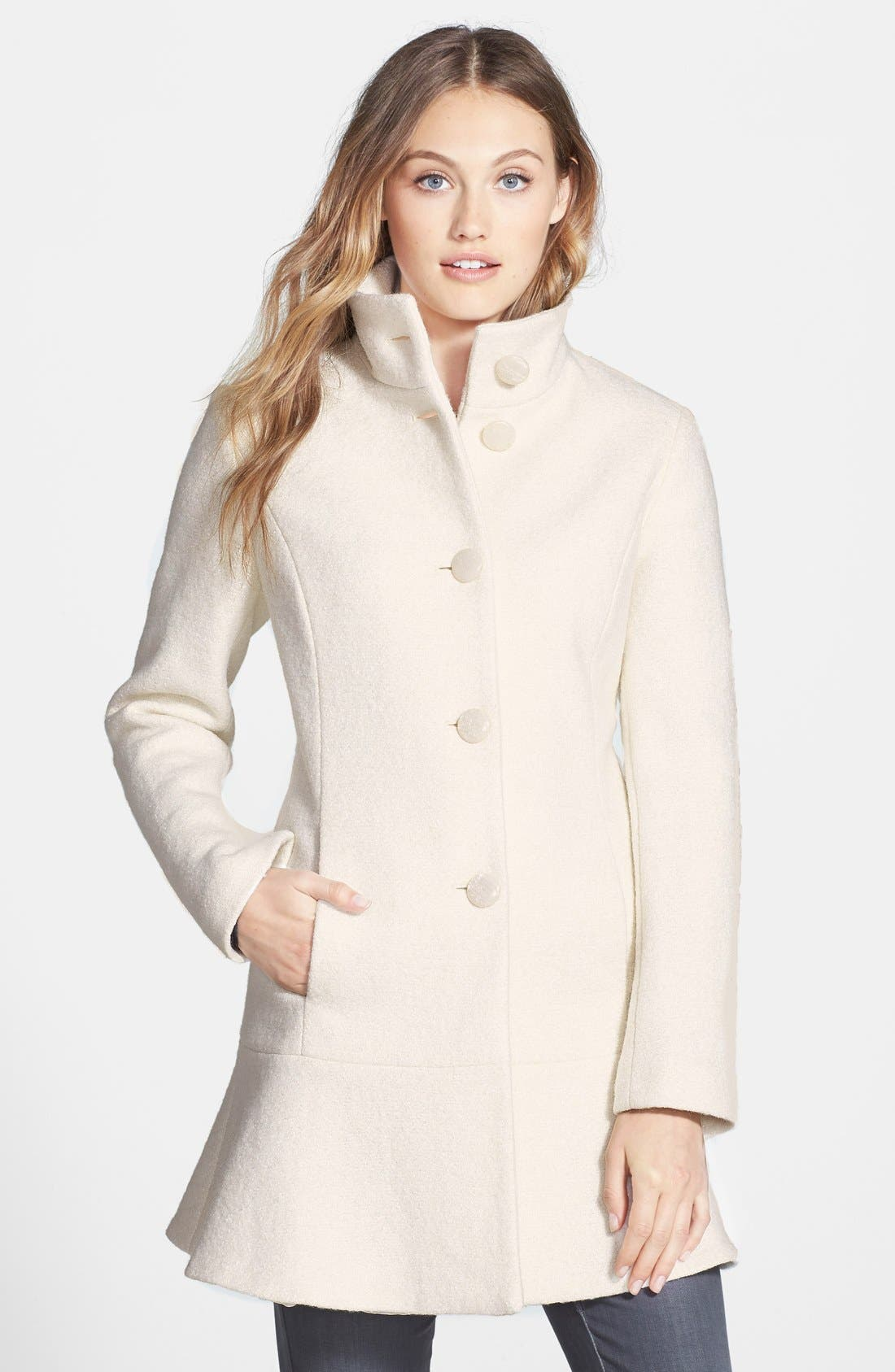 Main Image - kensie Fit & Flare Coat (Online Only)