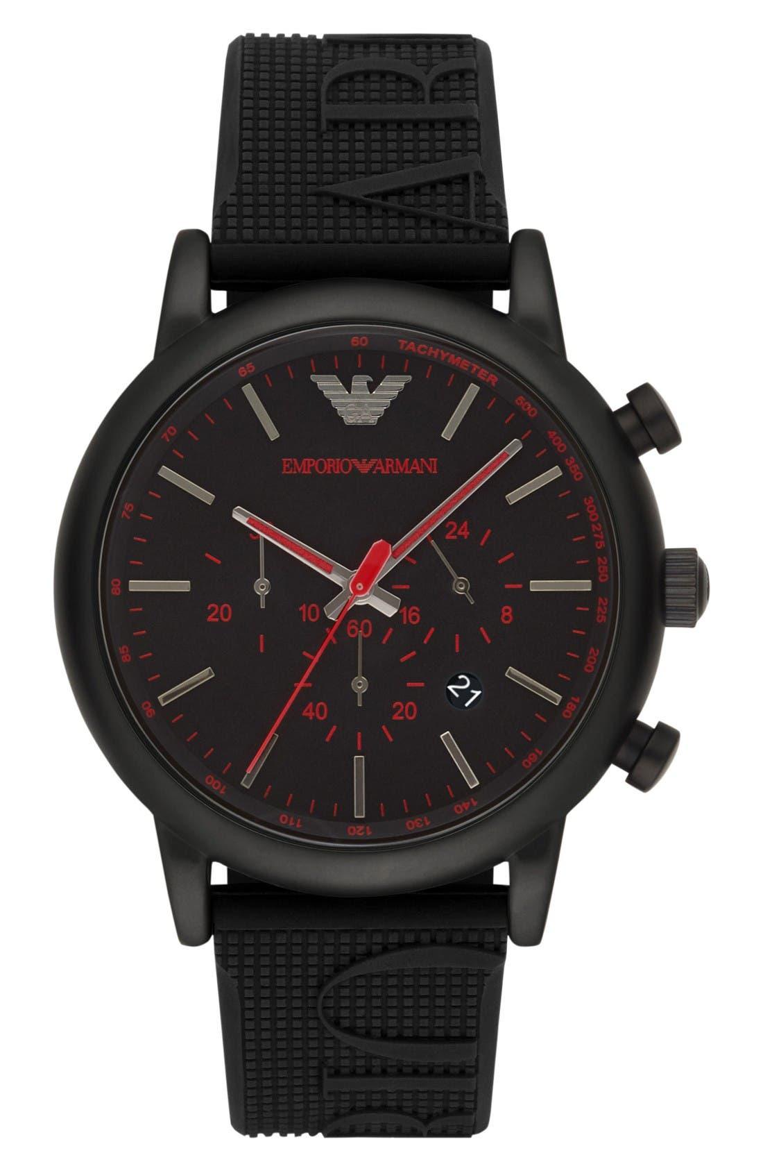 EMPORIO ARMANI Chronograph Silicone Strap Watch, 28mm