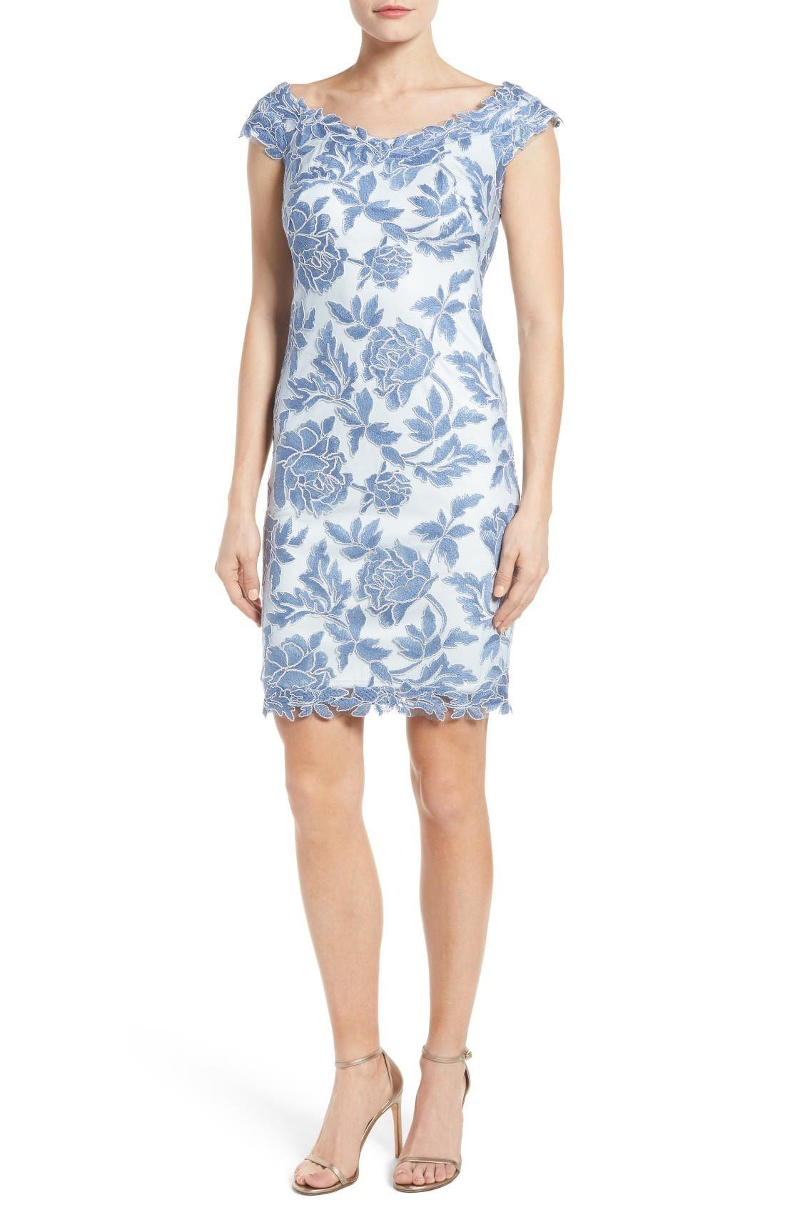 Main Image - Tadashi Shoji Embroidered Mesh Sheath Dress (Regular & Petite)