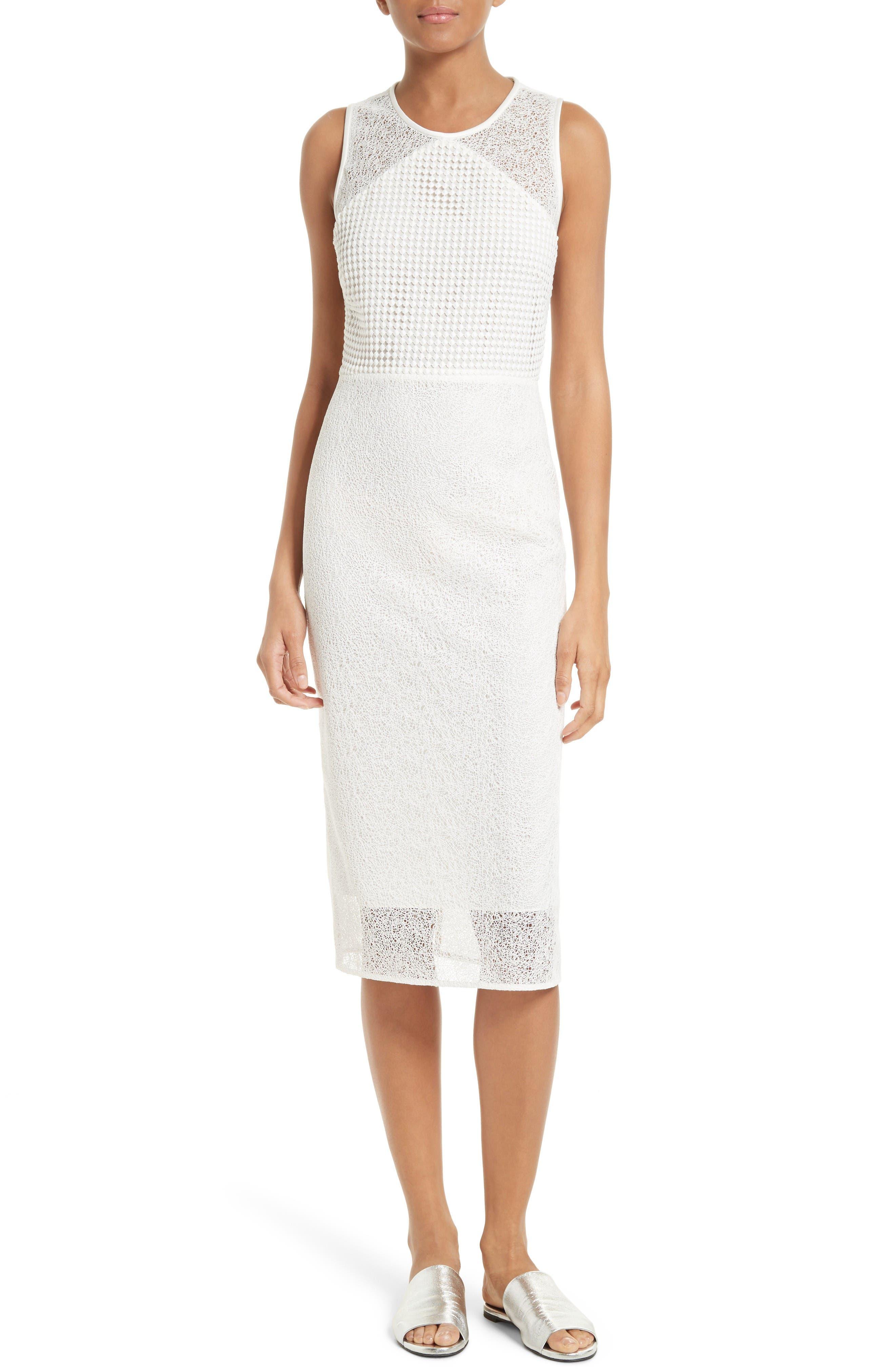 Diane von Furstenberg Mixed Lace Sheath Dress