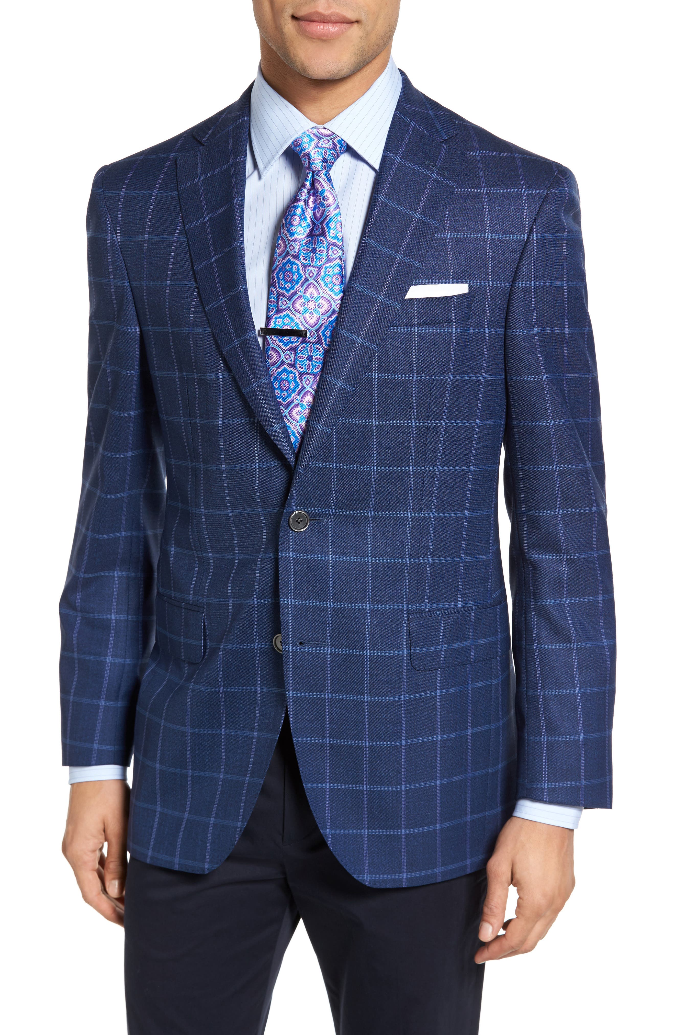 David Donahue Connor Classic Fit Windowpane Wool Sport Coat