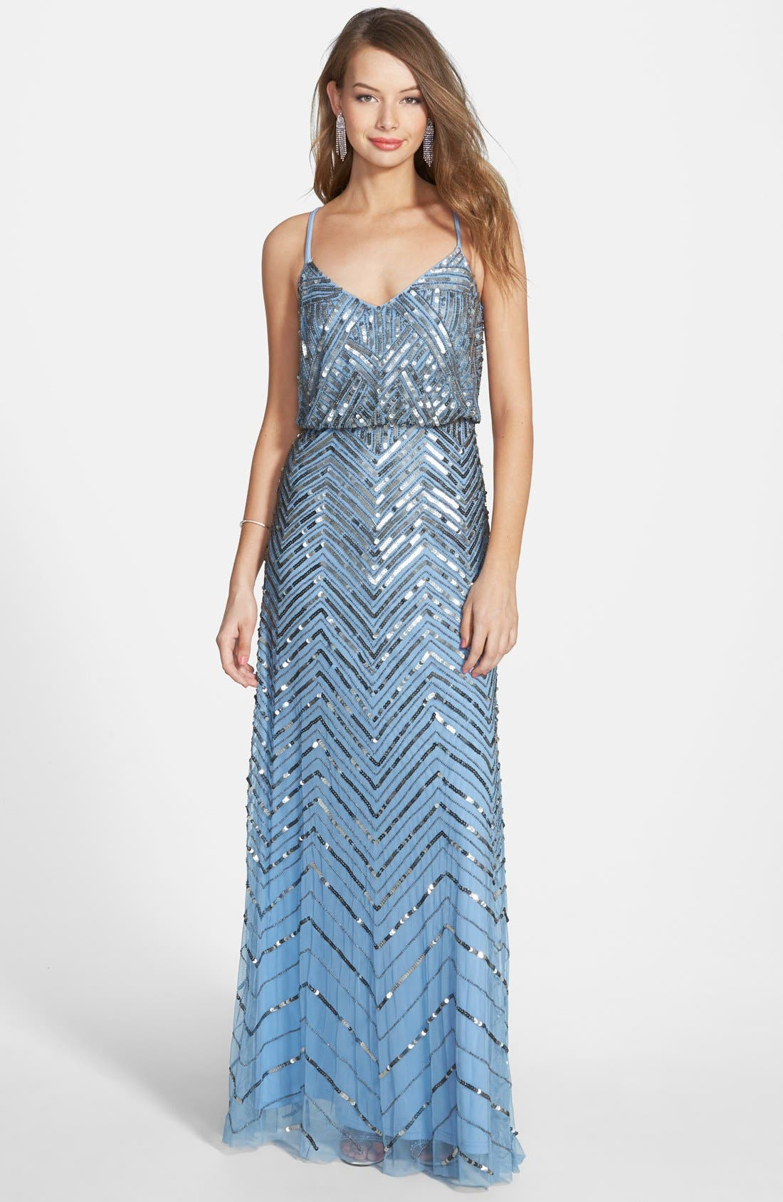 Main Image - Adrianna Papell Cross Back Sequin Blouson Gown