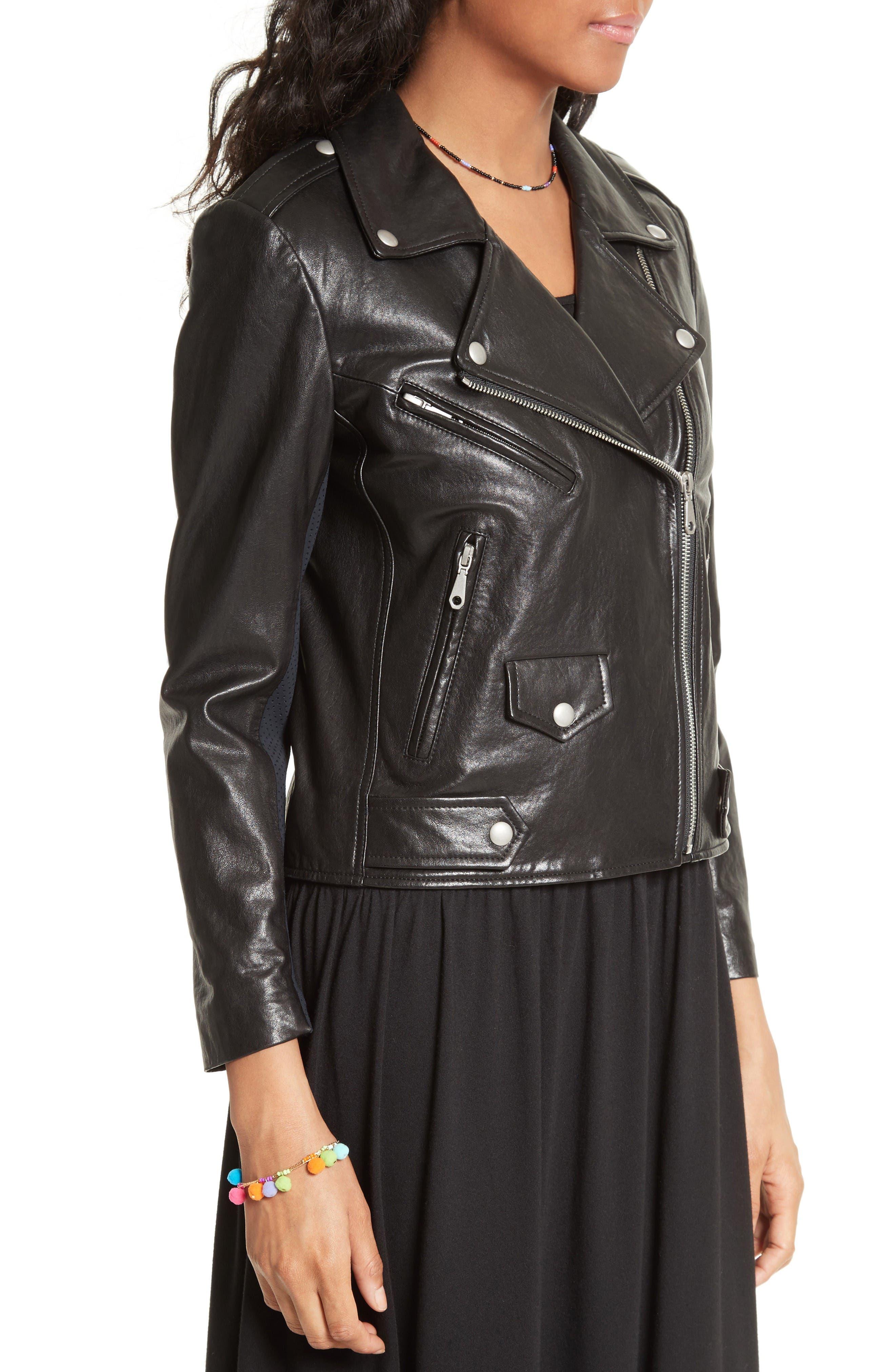 Alternate Image 4  - Rebecca Minkoff Wes Moto Leather & Neoprene Jacket