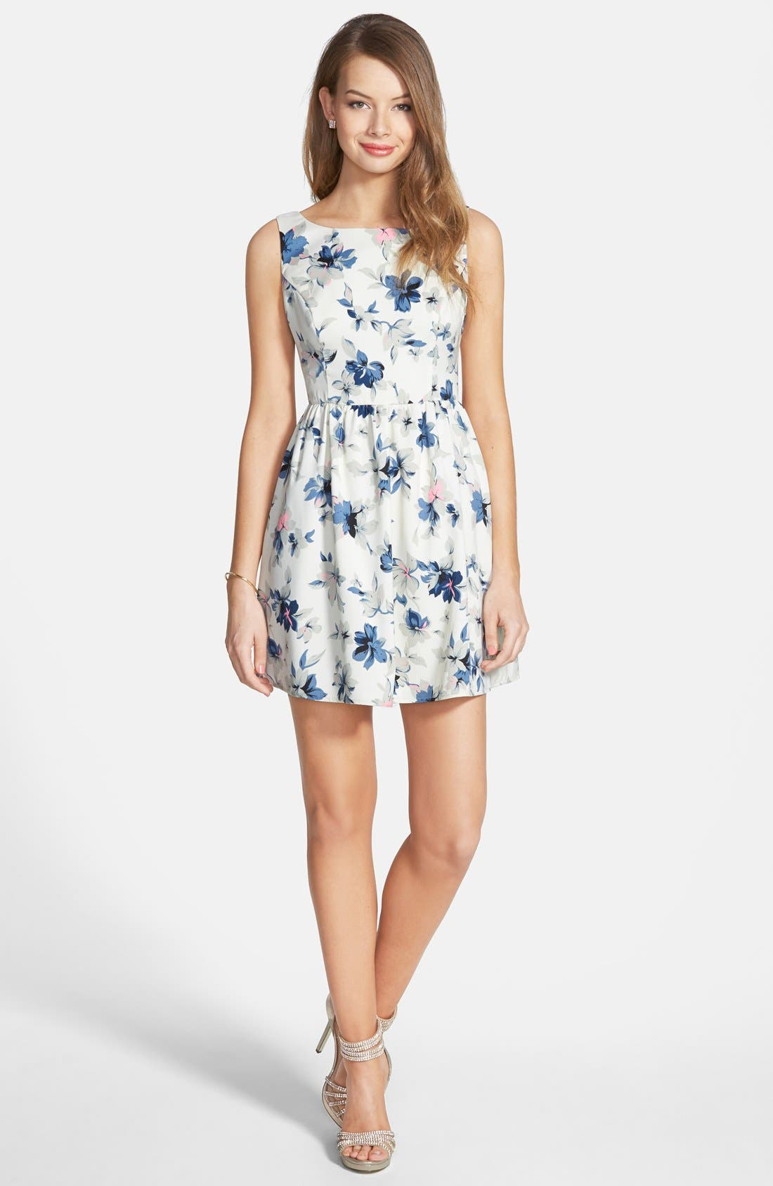 Alternate Image 1 Selected - En Crème Floral Print Fit & Flare Dress (Juniors)