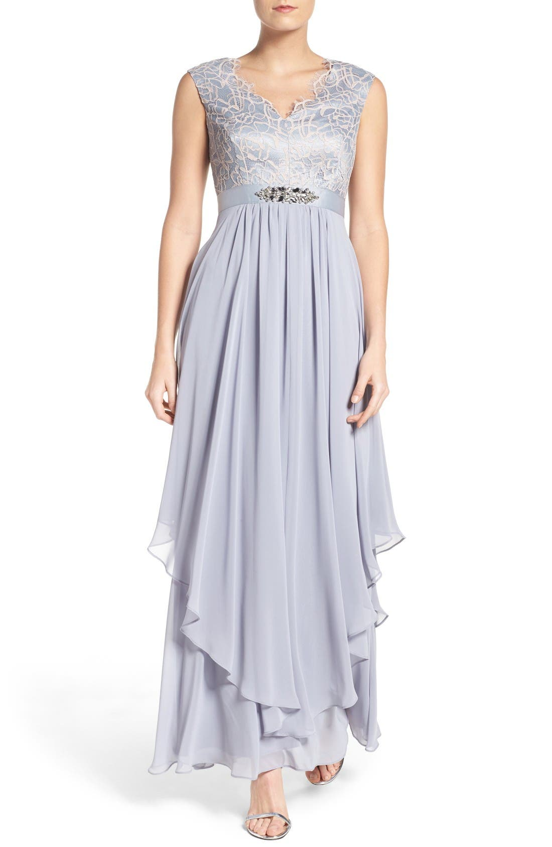 Eliza J Embellished Lace & Chiffon Gown