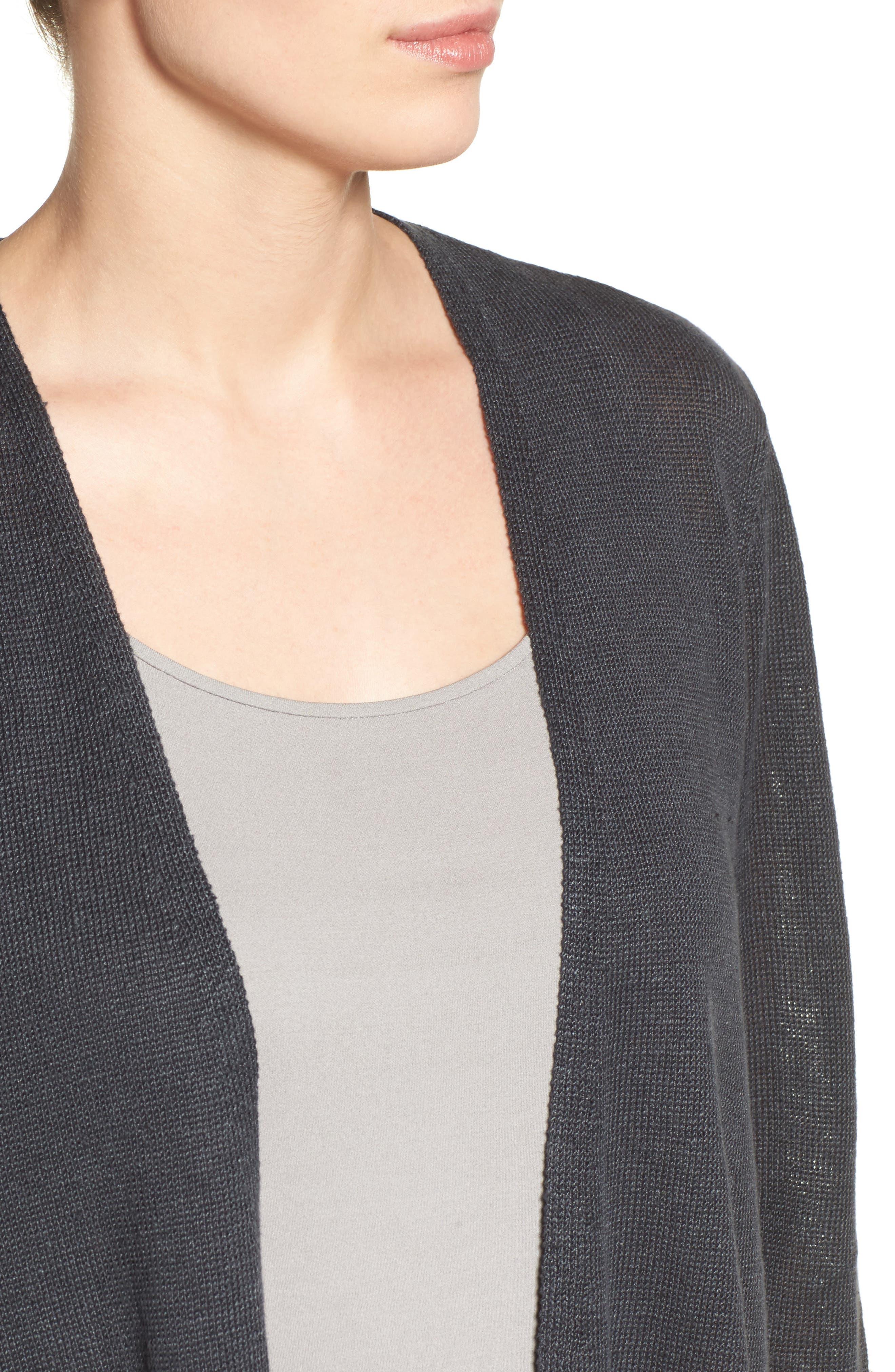 Alternate Image 4  - Eileen Fisher Organic Linen Open Front Cardigan