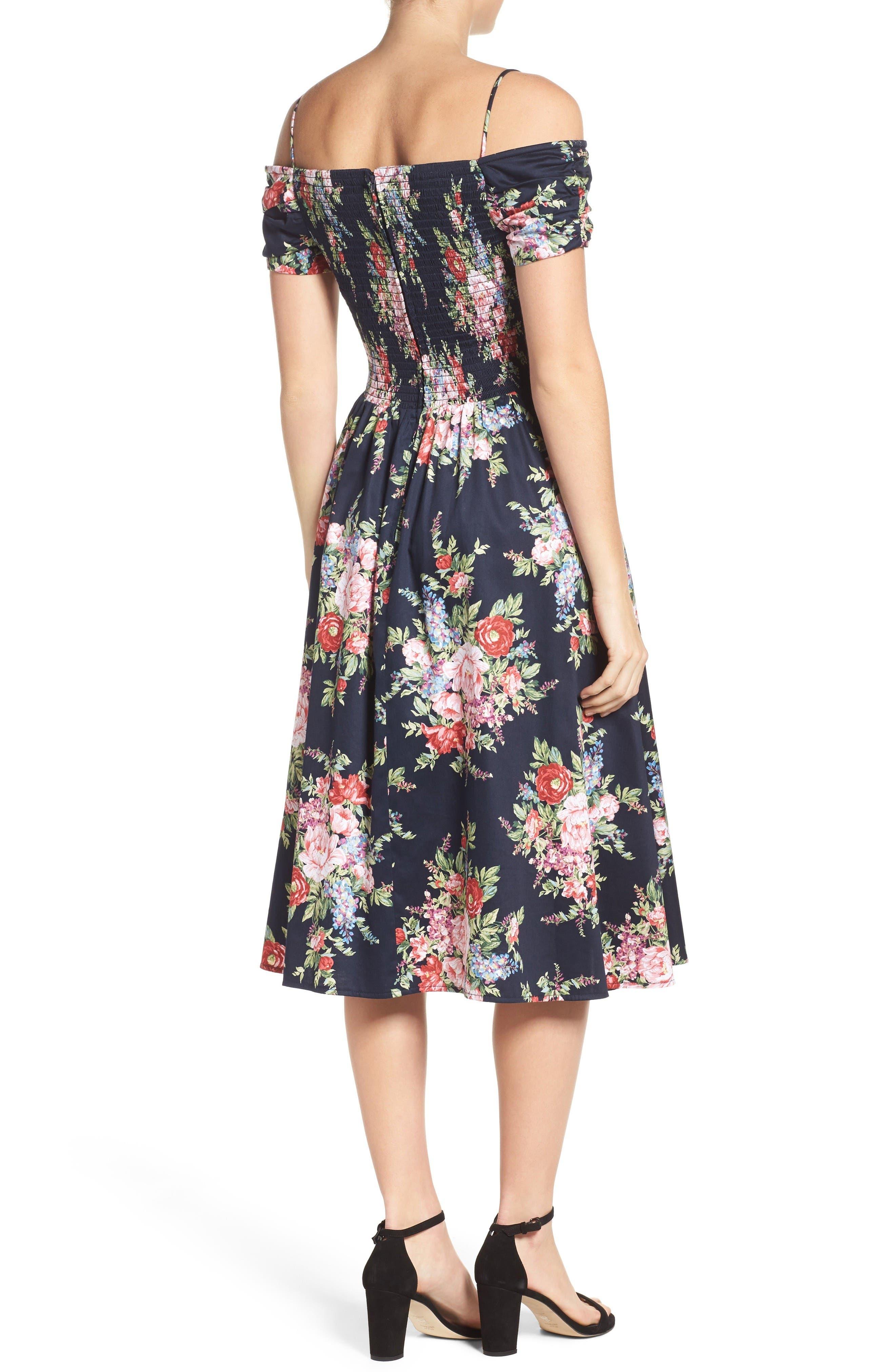 Alternate Image 2  - Chetta B Off the Shoulder Midi Dress