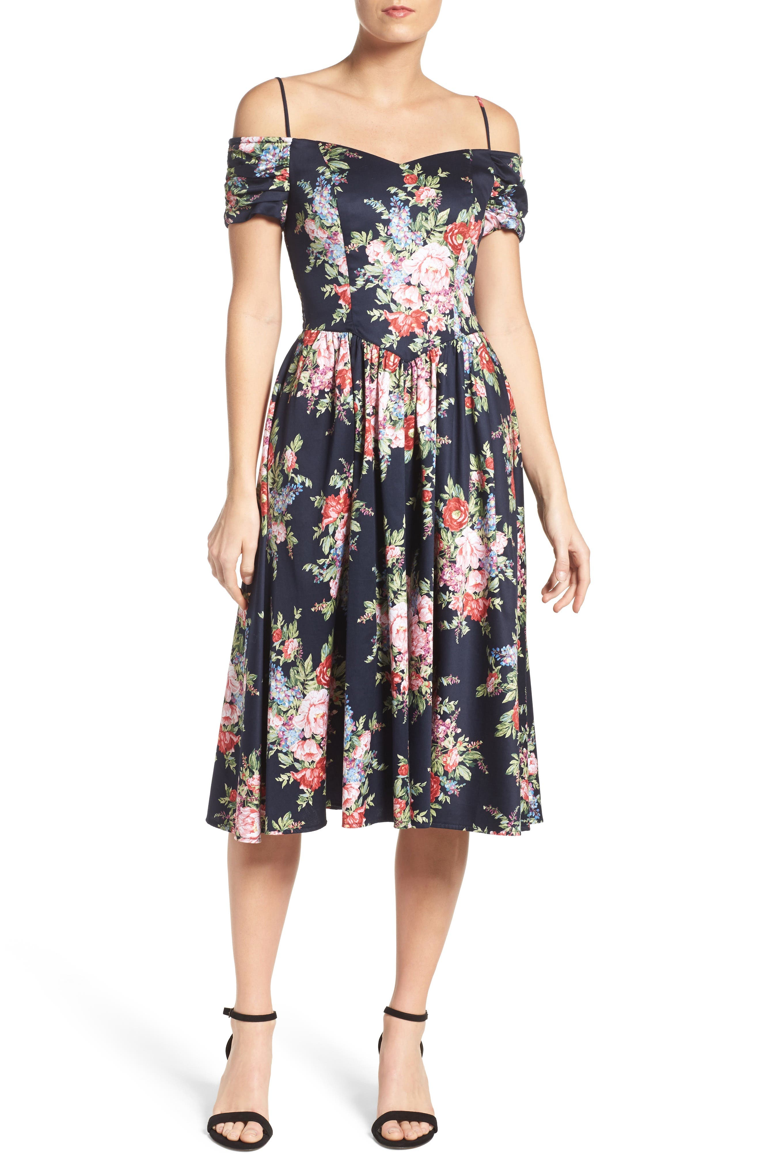 Chetta B Off the Shoulder Midi Dress