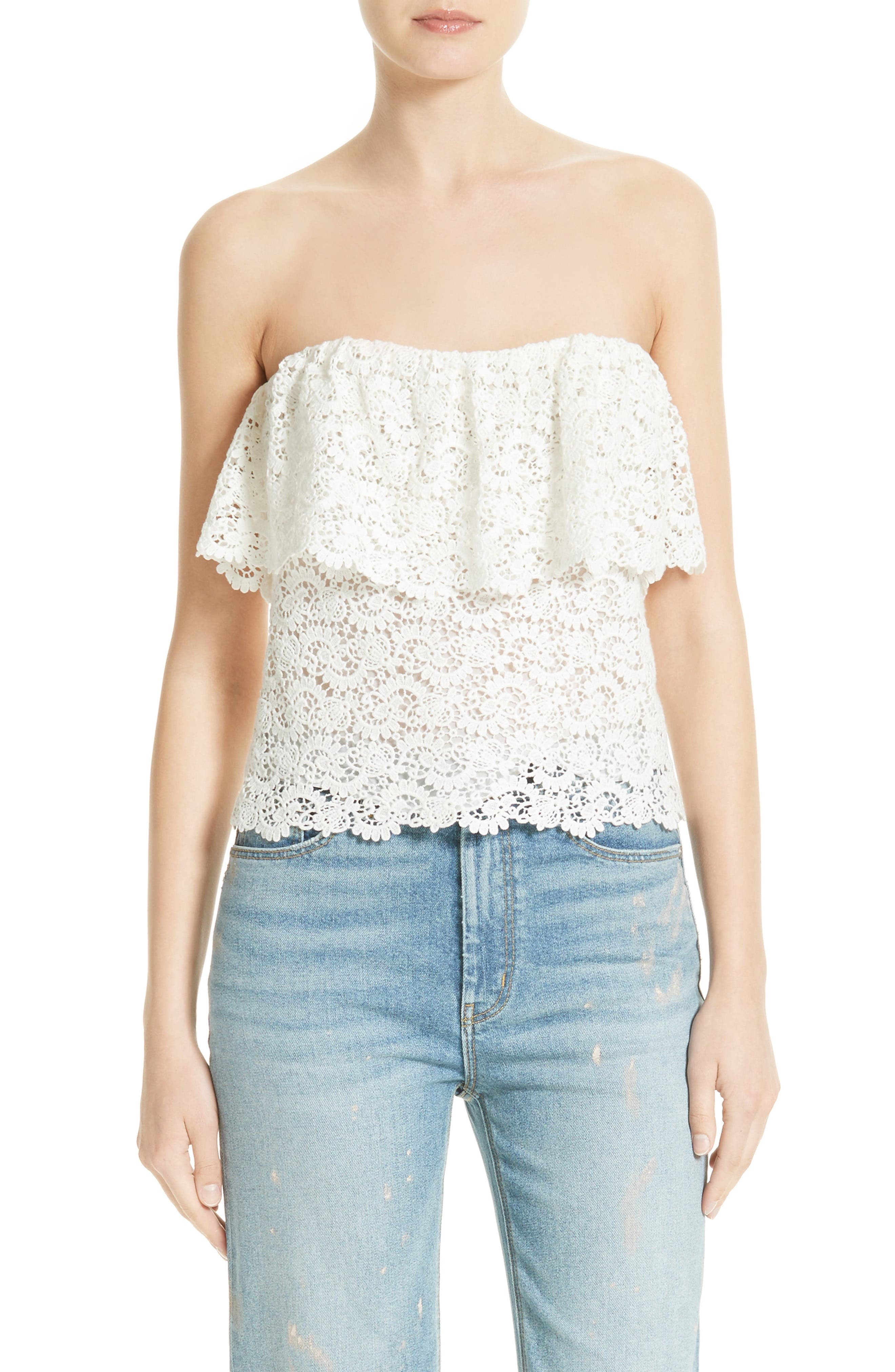 Rebecca Taylor Off the Shoulder Lace Top