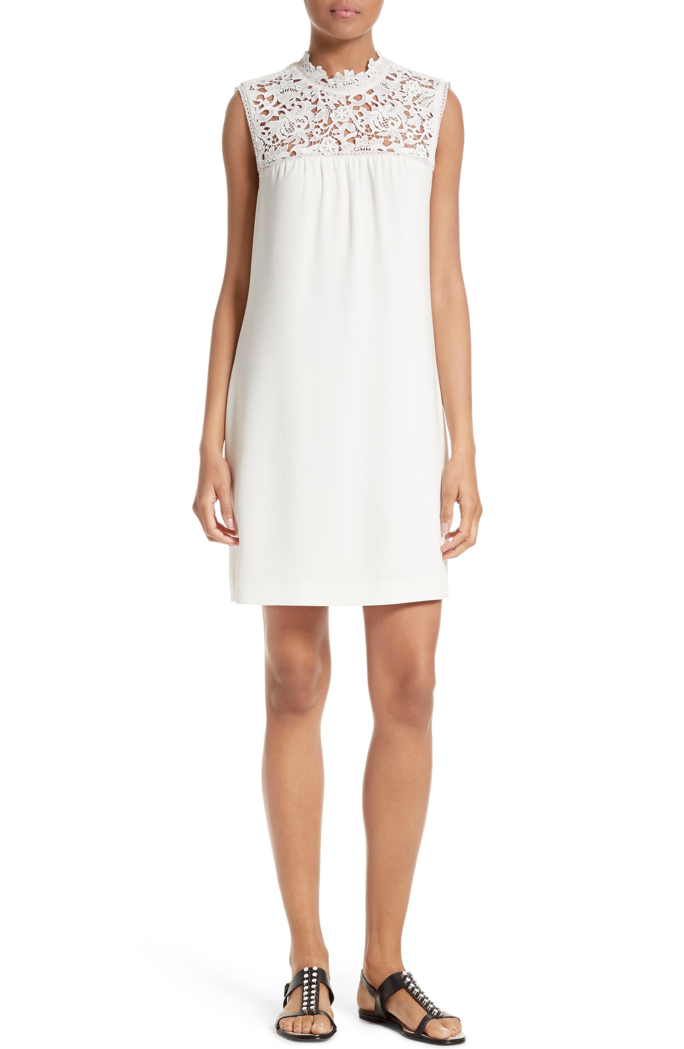 THEORY Aronella Elevate Crepe & Lace Shift Dress