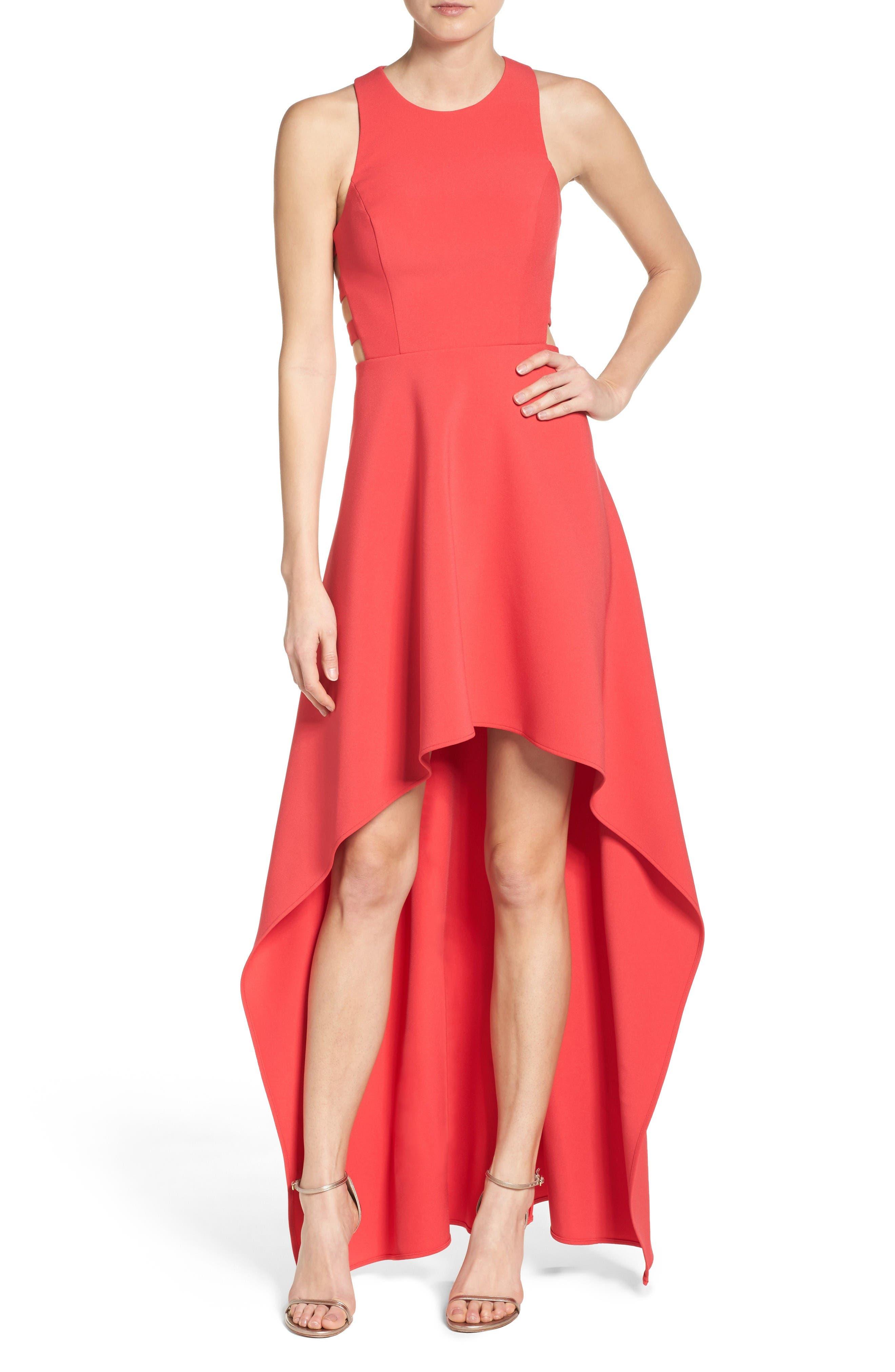 Main Image - BCBGMAXAZRIA 'Rosalyn' Cutout High/Low Crepe Gown