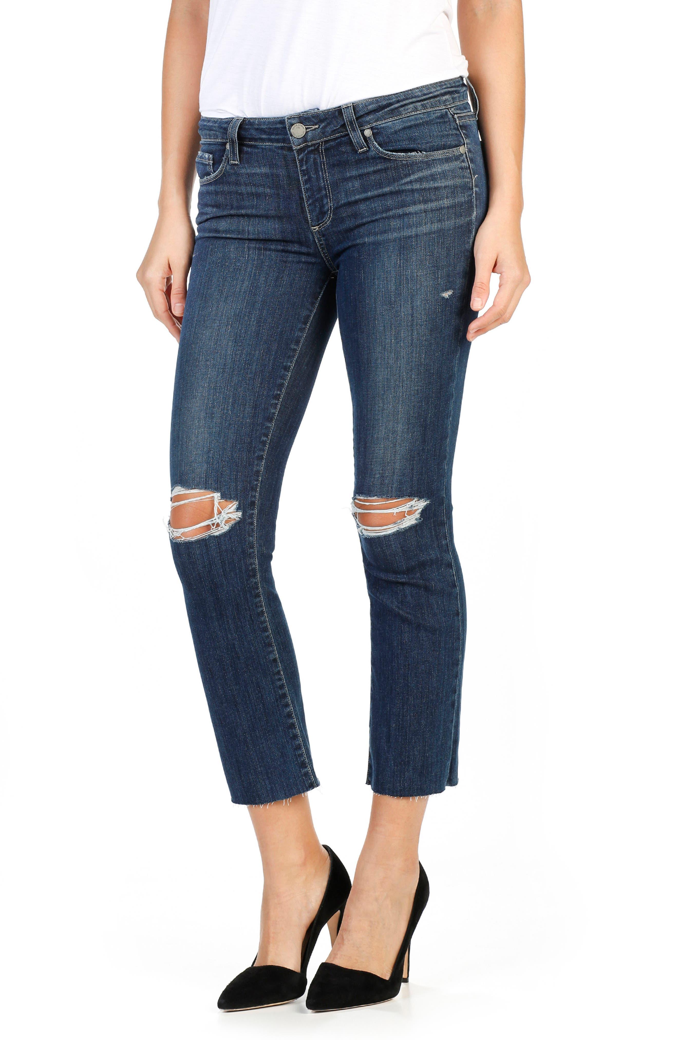 PAIGE Legacy - Colette High Waist Raw Hem Crop Flare Jeans (Donna Destructed)