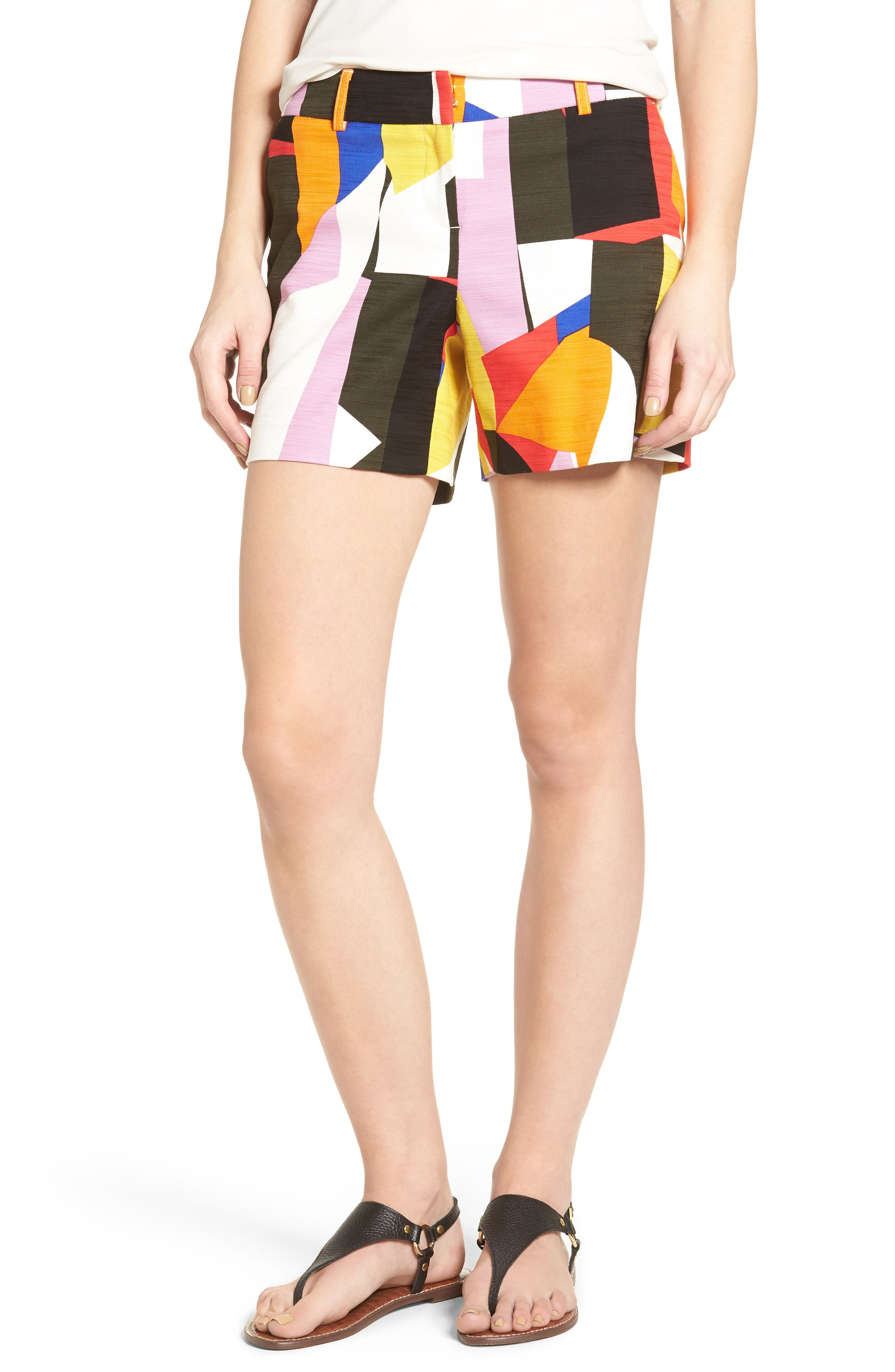 Halogen® Print Stretch Cotton Shorts (Regular & Petite)