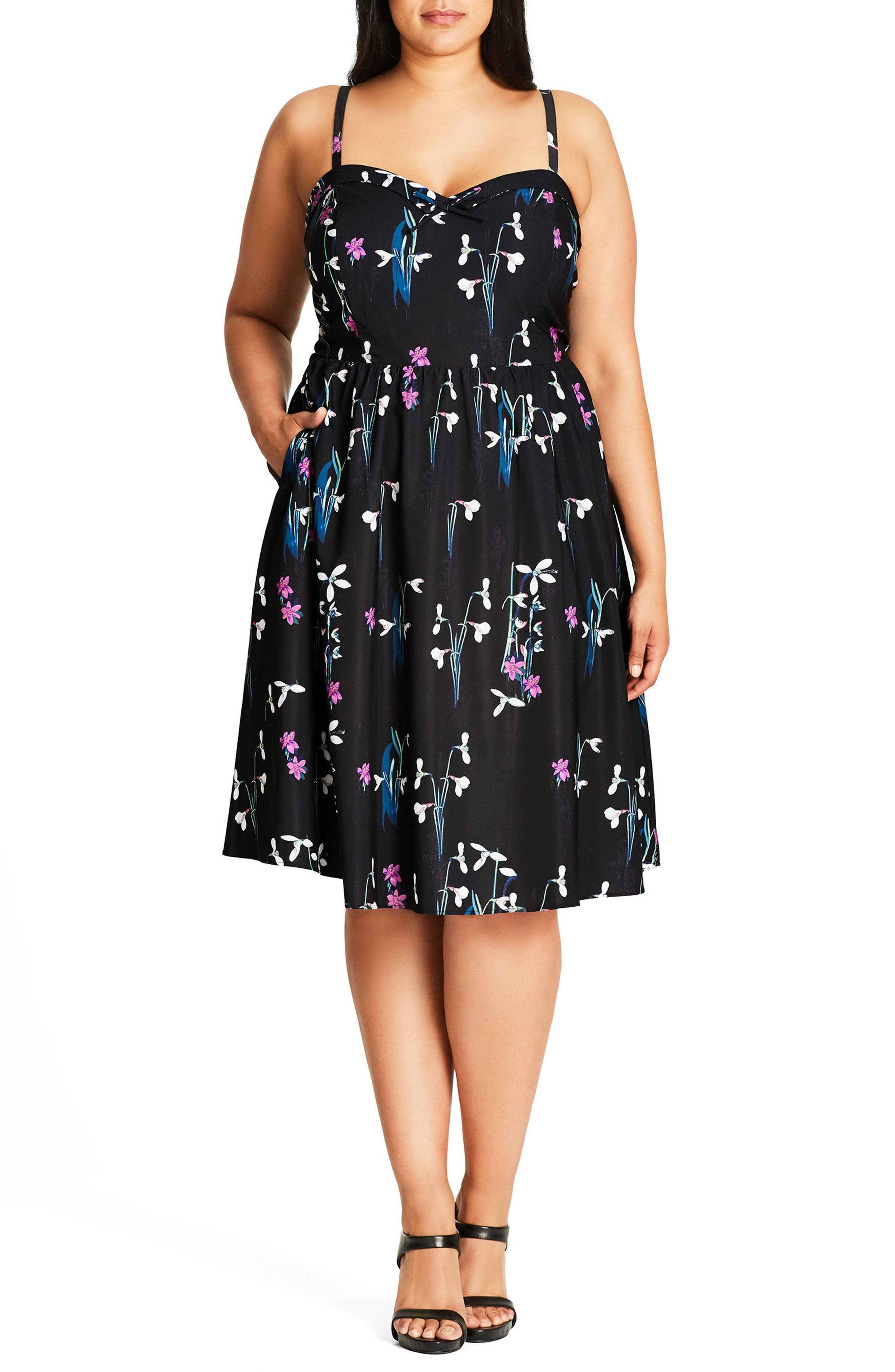 CITY CHIC Specimen Floral Print Sundress