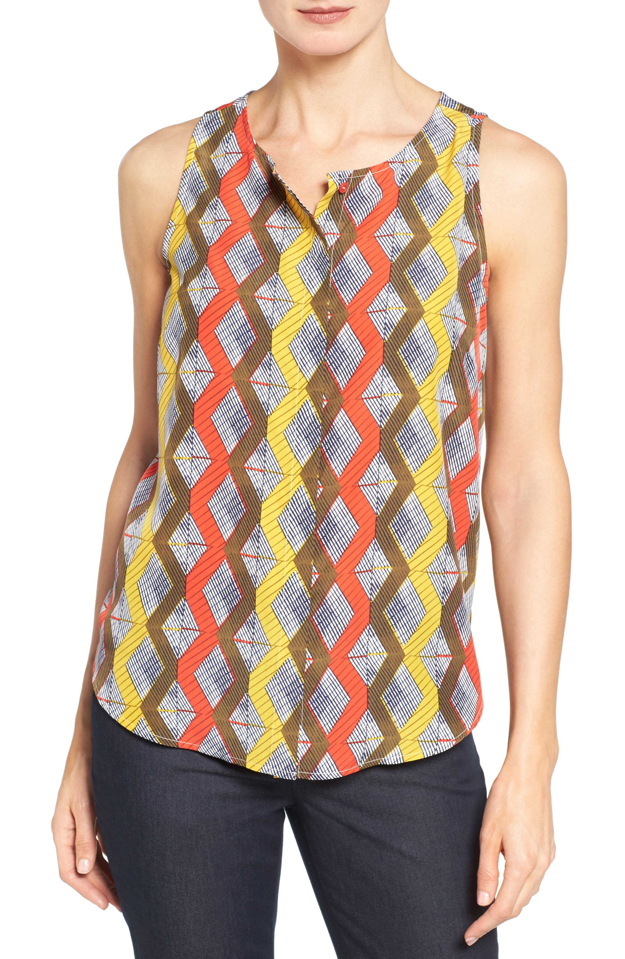 Halogen® Button Front Print Tank (Regular & Petite)